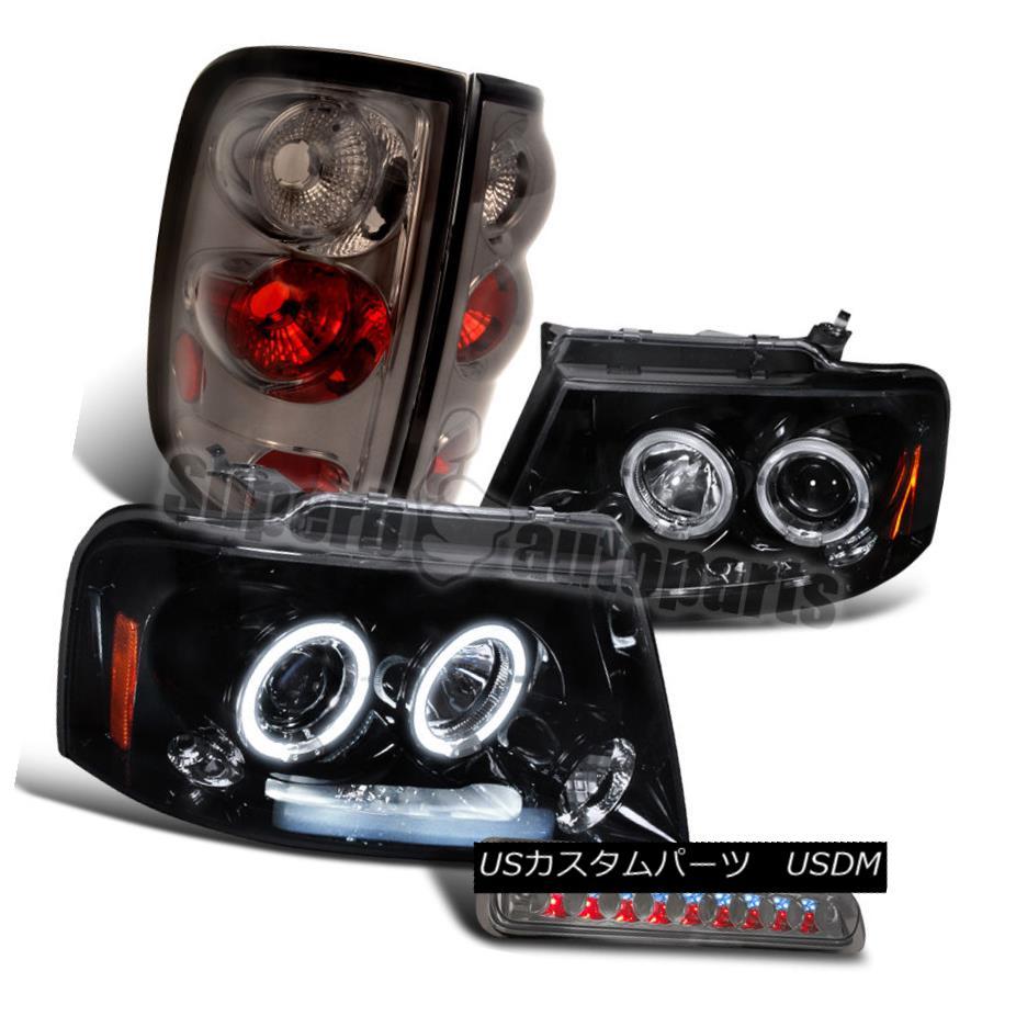 ヘッドライト 2004-2008 Ford F150 Glossy Black Halo Headlights+Smoke Tail+LED 3rd Brake Light 2004-2008 Ford F150 Glossy Black Haloヘッドライト+ Smo  keテール+ LED第3ブレーキライト