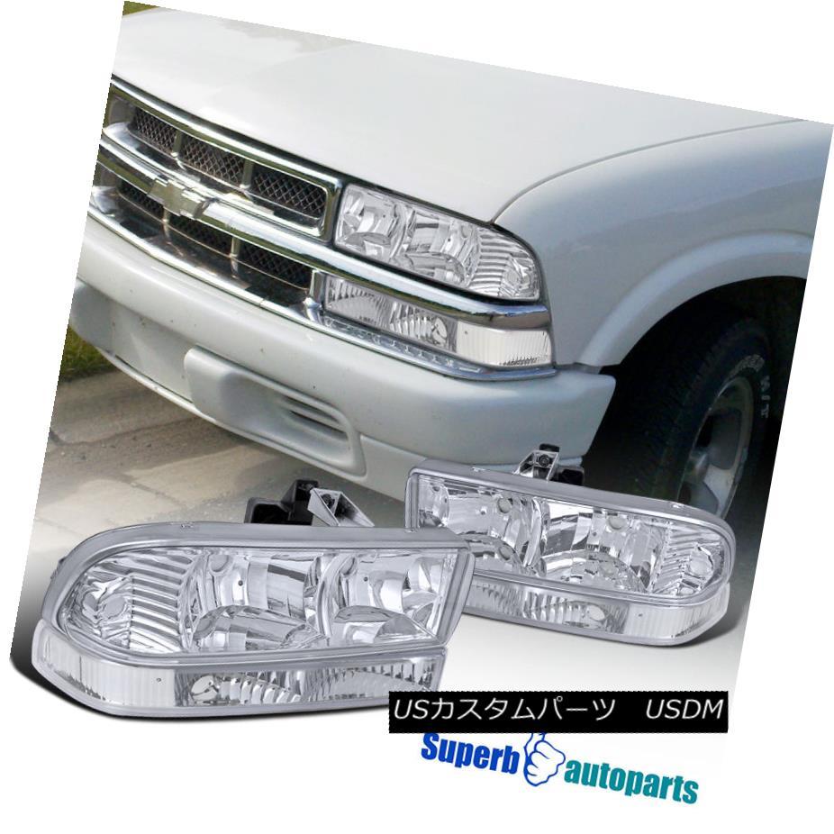 ヘッドライト 98-04 Chevy Blazer S10 Pickup Chrome Clear Headlights+Clear Bumper Lights 98-04 Chevy Blazer S10ピックアップクロームクリアヘッドライト+ Cle  arバンパーライト
