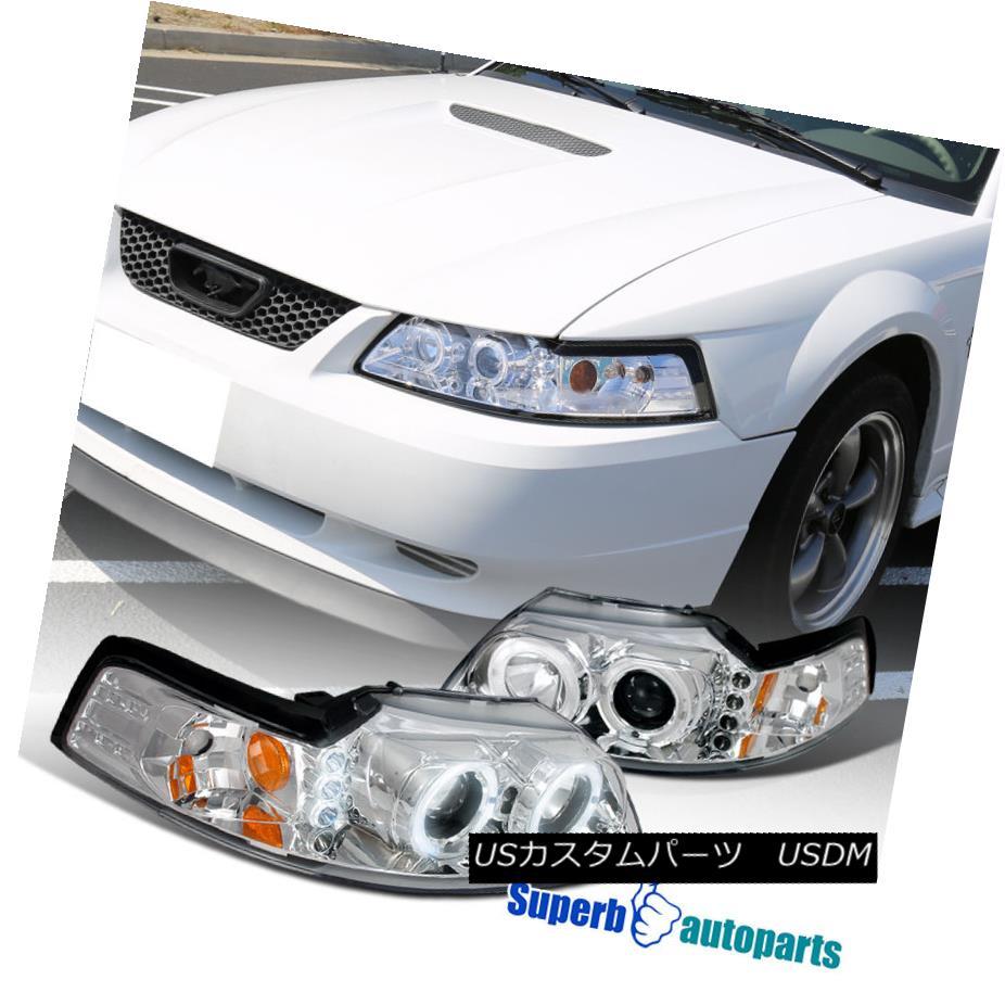 ヘッドライト 1999-2004 Ford Mustang LED Halo Clear Projector Headlights Chrome SpecD Tuning 1999-2004 Ford Mustang LED HaloクリアプロジェクターヘッドライトChrome SpecD Tuning