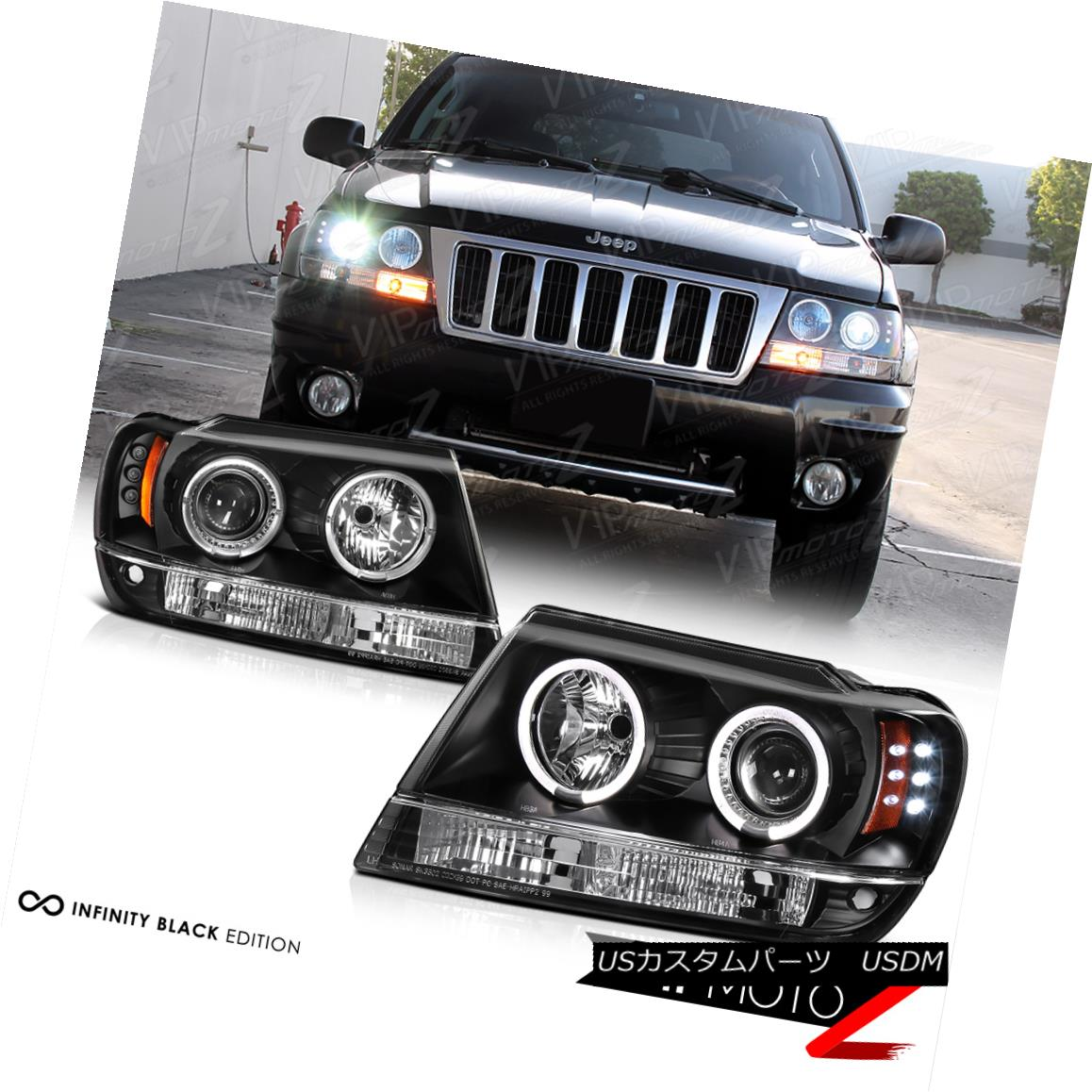 ヘッドライト 1999-2004 Jeep Grand Cherokee WJ WG Black LED Halo Angel Eye Projector Headlight 1999-2004ジープグランドチェロキーWJ WGブラックLEDハローエンジェルアイプロジェクターヘッドライト