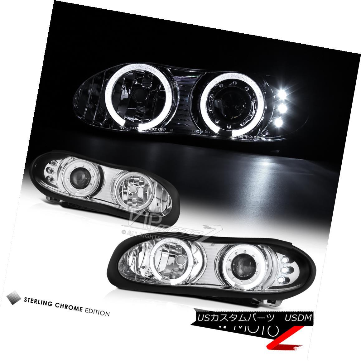 ヘッドライト 98-02 CHEVY CAMARO Euro Dual Halo Projector LED DRL Chrome Headlights LH+RH Set 98-02 CHEVY CAMAROユーロデュアルハロープロジェクターLED DRLクロームヘッドライトLH + RHセット