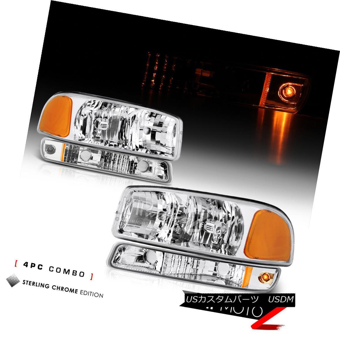 ヘッドライト [4PC COMBO] 2000-2006 GMC Sierra Yukon *Factory Style* Headlights Bumper Lamps [4PC COMBO] 2000-2006 GMC Sierra Yukon *工場スタイル*ヘッドライトバンパーランプ