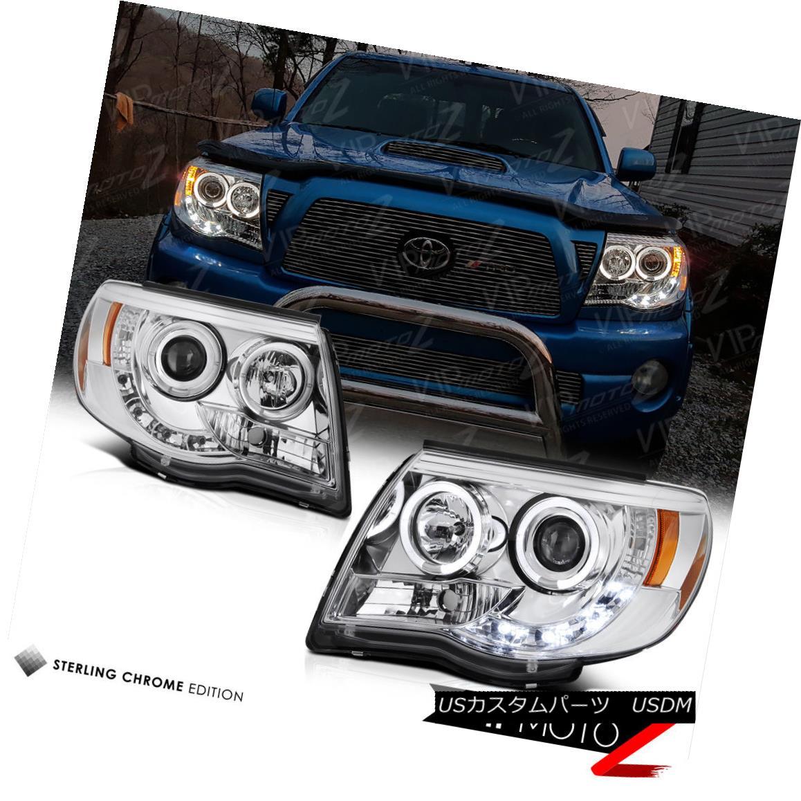 ヘッドライト Euro Angel Eye Halo Chrome Projector Headlight 2005-2011 Toyota Tacoma Truck ユーロエンジェルアイハロークロームプロジェクターヘッドライト2005-2011 Toyota Tacoma Truck