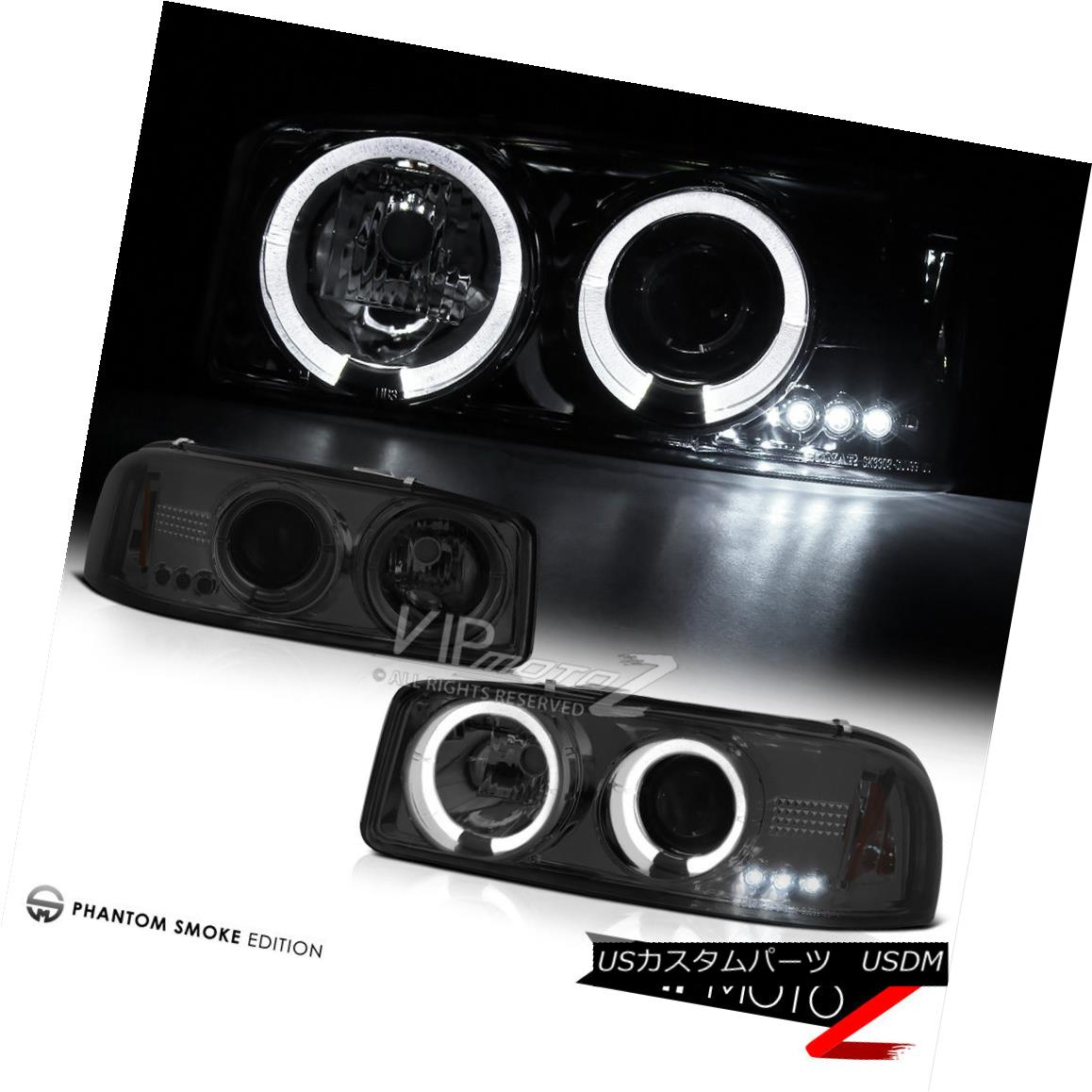 ヘッドライト 2000-2006 GMC Sierra Yukon XL Denali Smoke Halo LED Projector Headlight Headlamp 2000-2006 GMC Sierra Yukon XLデナリスモークハローLEDプロジェクターヘッドライトヘッドランプ
