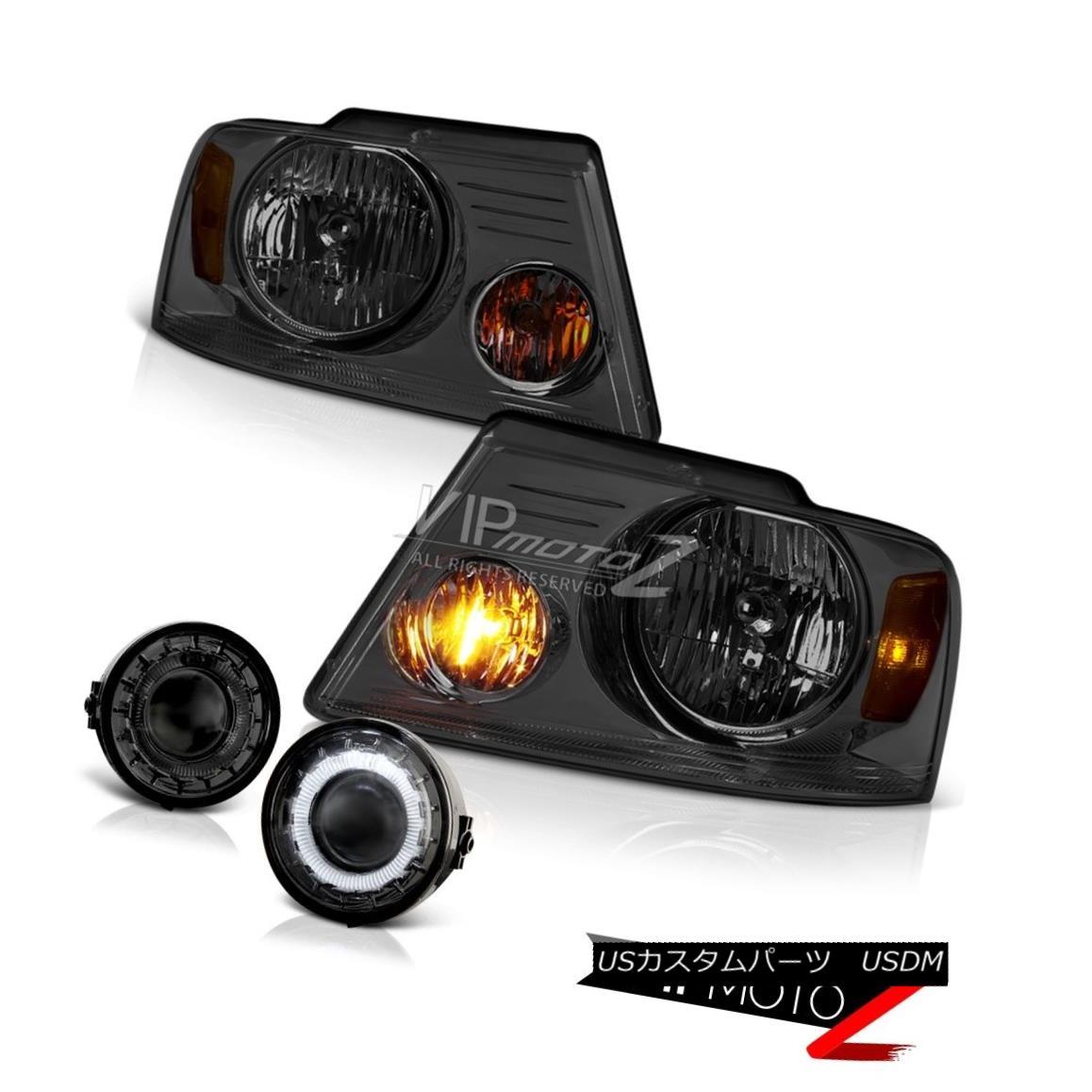 ヘッドライト Smoke Headlights+Smoke Halo Fog Light Lamp 2006 2007 2008 Ford F150 PickUp Truck スモークヘッドライト+スモー ke Halo Fog Light Lamp 2006 2007 2008フォードF150 PickUpトラック