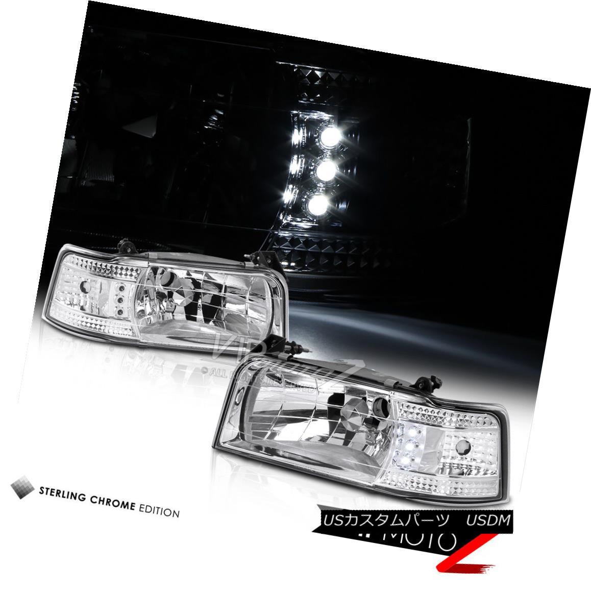 ヘッドライト 1992-1996 Ford F150 F250 F350 Bronco Chrome Factory Style Headlight Corner Lamps 1992-1996 Ford F150 F250 F350 Bronco Chromeファクトリースタイルヘッドライトコーナーランプ