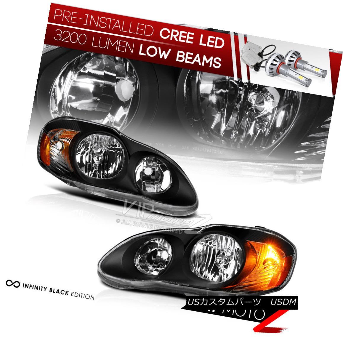 ヘッドライト {Pre-Installed LED Low Beam} 2003-2008 Toyota Corolla Headlights Black Lamps SET {Pre-Installed LED Low Beam} 2003-2008トヨタカローラヘッドライトブラックランプセット