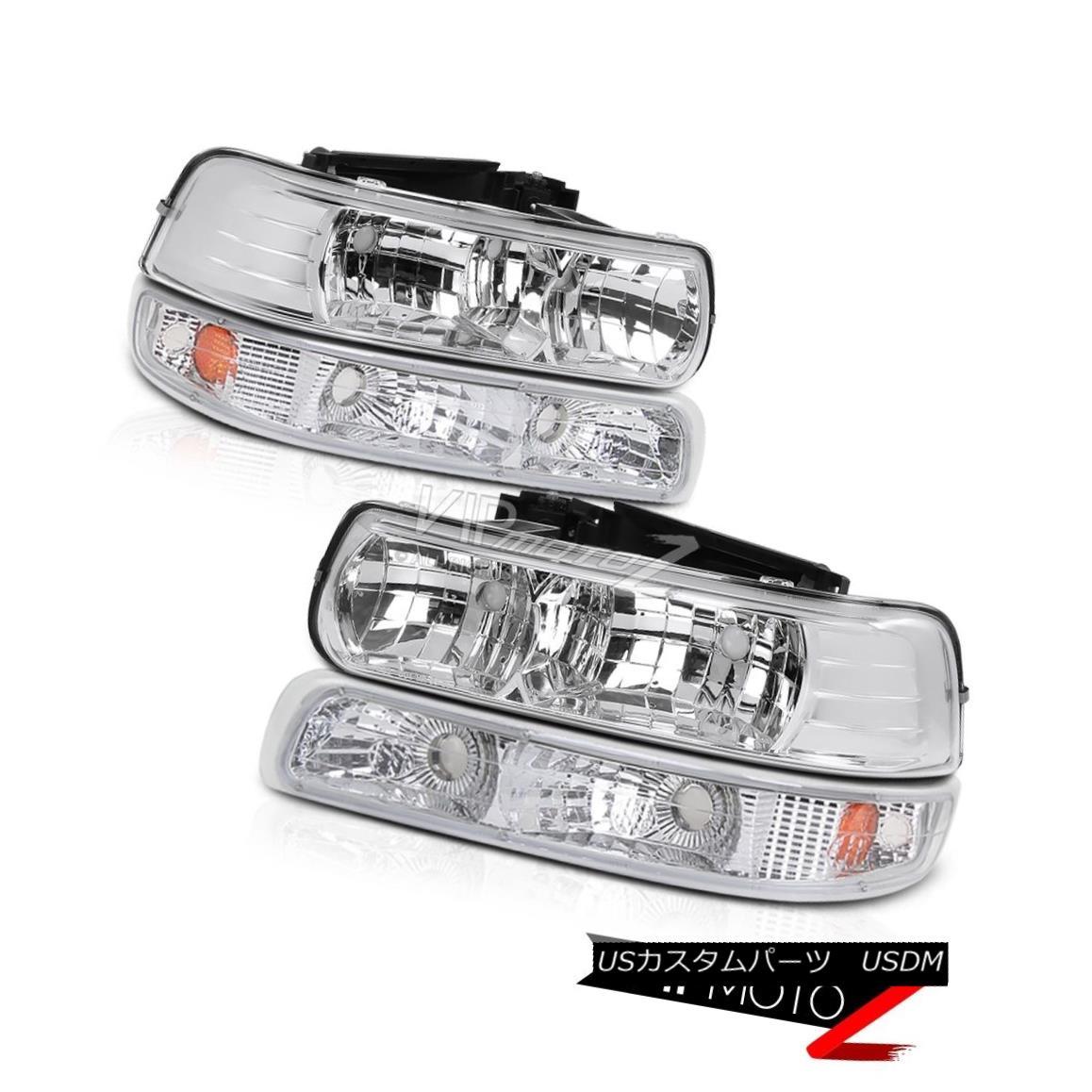 ヘッドライト L+R Clear Headlight+Bumper Parking Lamp w/ Amber Chevy 99-02 Silverado 1500/2500 L + Rクリアヘッドライト+バンプ 駐車ランプ/アンバーシボレー99-02 Silverado 1500/2500