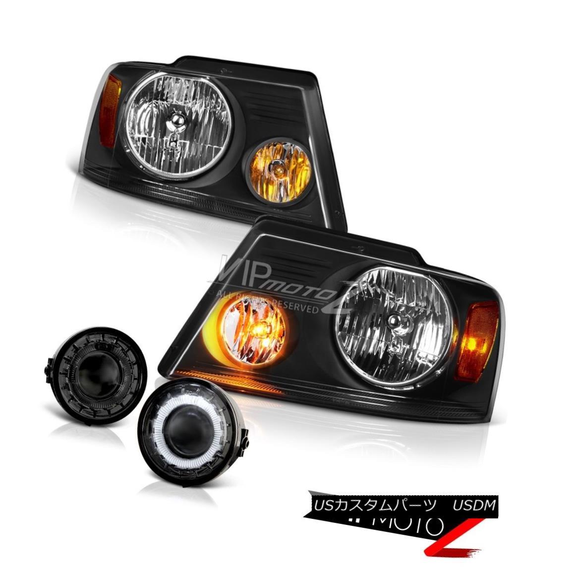 ヘッドライト 2006 2007 2008 F150 PickUp Black Headlights+Halo Ring Projector Fog Lights Combo 2006 2007 2008 F150ピックアップブラックヘッドライト+ Hal  oリングプロジェクターフォグライトコンボ