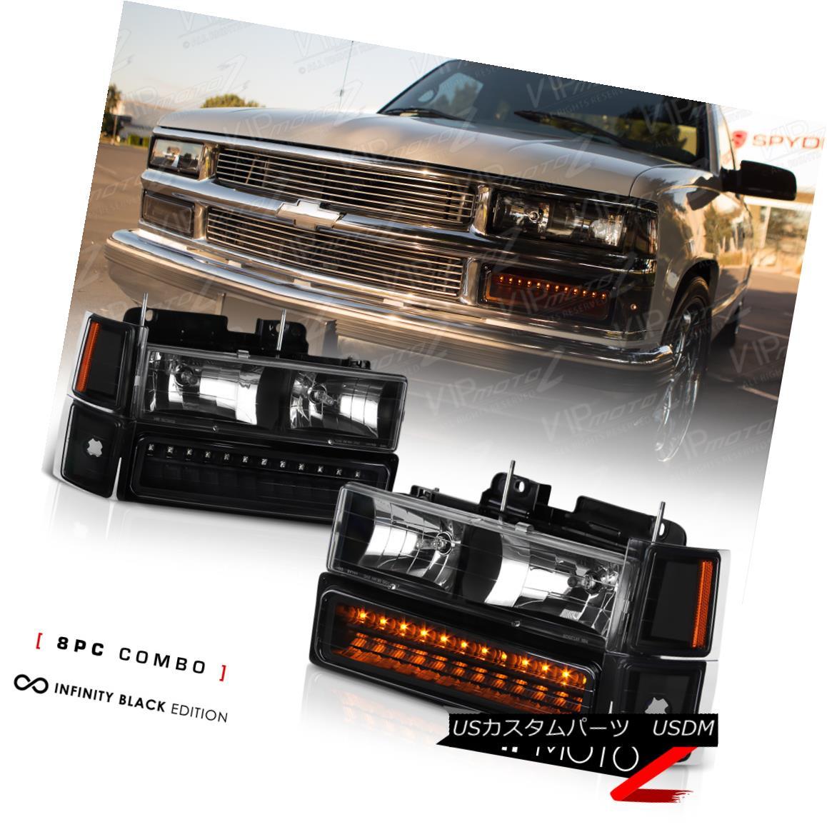 ヘッドライト 94-98 Chevy Tahoe/Suburban/Silverado Black Headlamp+Bumper Parking Light 4PC Set 94-98 Chevy Tahoe /郊外 / Silverado Blackヘッドランプ+バンパー r駐車ライト4PCセット