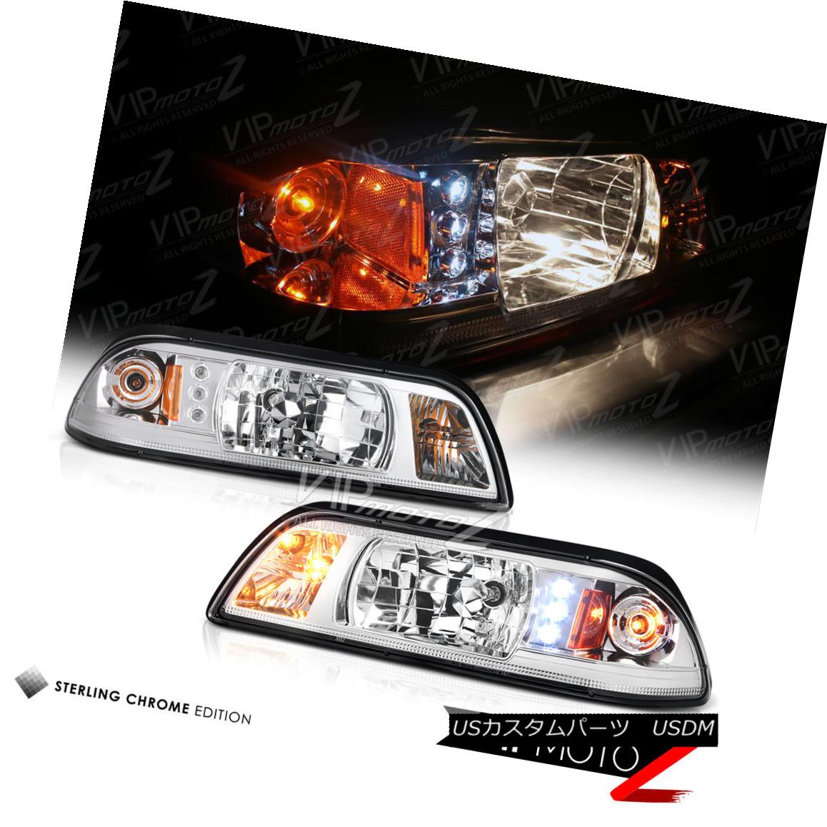ヘッドライト Left+Right 1PC LED Chrome Headlight Signal Lamp 1987-1993 Ford Mustang GT V8 左+右1PC LEDクロームヘッドライト信号ランプ1987-1993 Ford Mustang GT V8