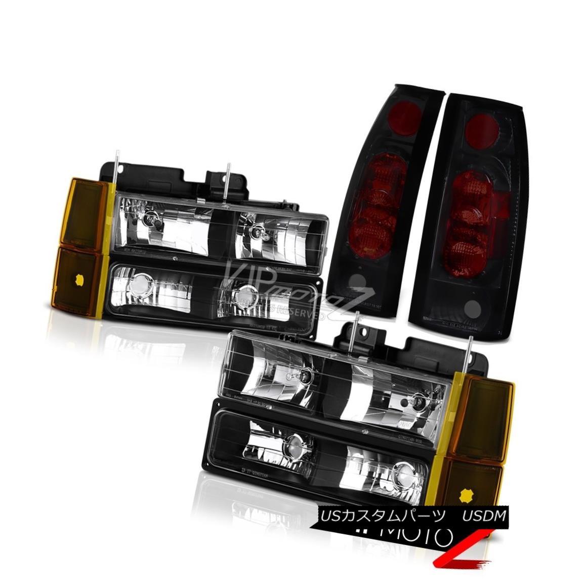 ヘッドライト 94-98 GMC Sierra 1500 Inky Black Headlights Corner Dark Tinted Tail Lamps L+R 94-98 GMC Sierra 1500 InkyブラックヘッドライトコーナーダークテールテールランプL + R
