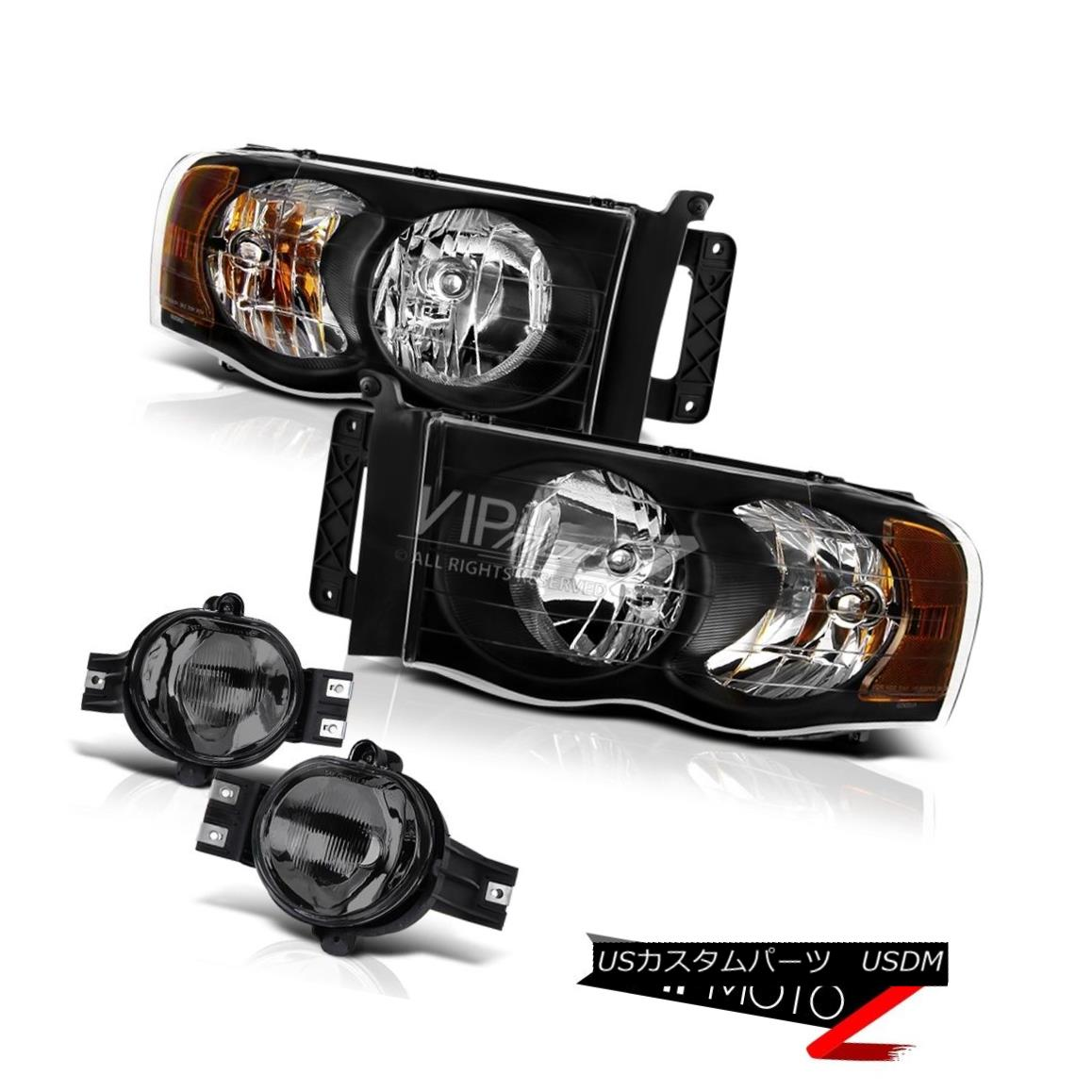 ヘッドライト 03-05 Dodge Ram 3500 Diesel Diamond Black Halo Headlights+Smoke Tinted Fog Lamps 03-05 Dodge Ram 3500ディーゼルダイヤモンドブラックHaloヘッドライト+ Smo