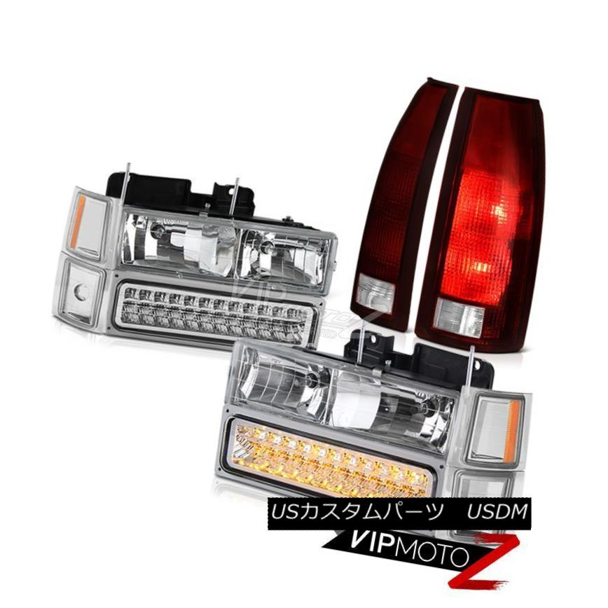 ヘッドライト 1994-1998 Chevy Cheyenne Burgundy Red Taillights Chrome Headlamps Bumper Corner 1994-1998 Chevy Cheyenne Burgundy Red Tillightsクロームヘッドランプバンパーコーナー
