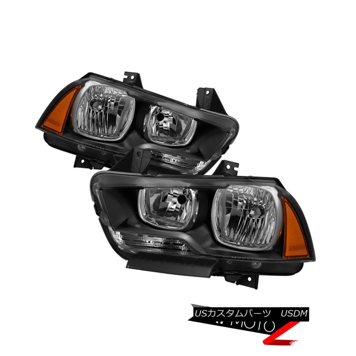 ヘッドライト Black 2011-2014 Dodge Charger SE SXT SRT8 [Factory Style] Headlights Lamps Pair ブラック2011-2014 Dodge Charger SE SXT SRT8 [工場スタイル]ヘッドライトランプペア