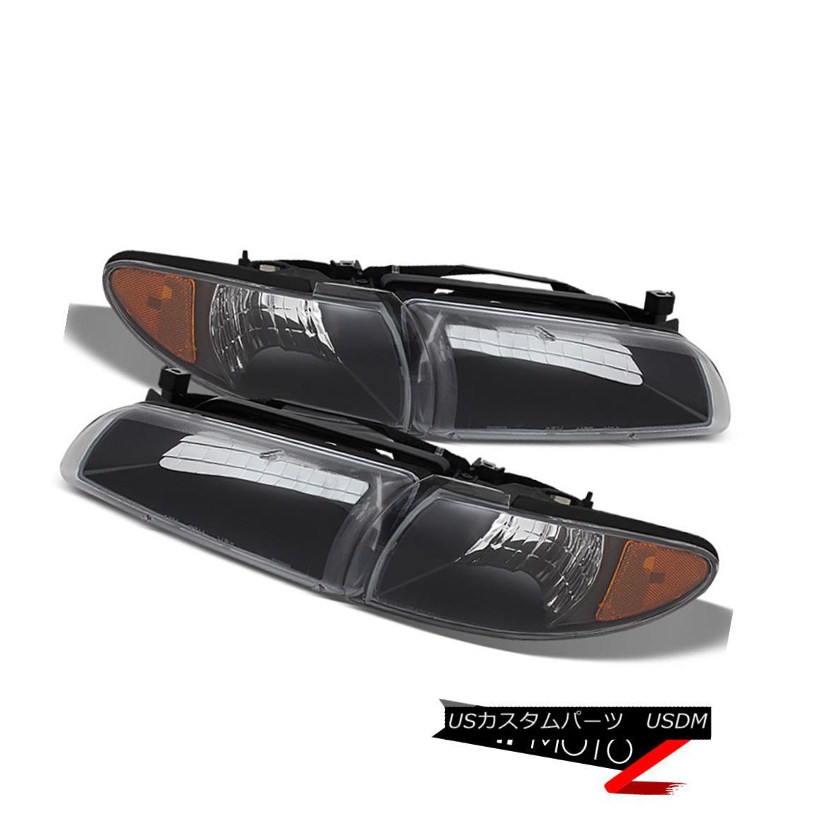 ヘッドライト 1997-2003 Pontiac Grand Prix Coupe Sedan Black Corner Headlights Lamp Assembly 1997-2003ポンティアックグランプリクーペセダンブラックコーナーヘッドライトランプアセンブリ