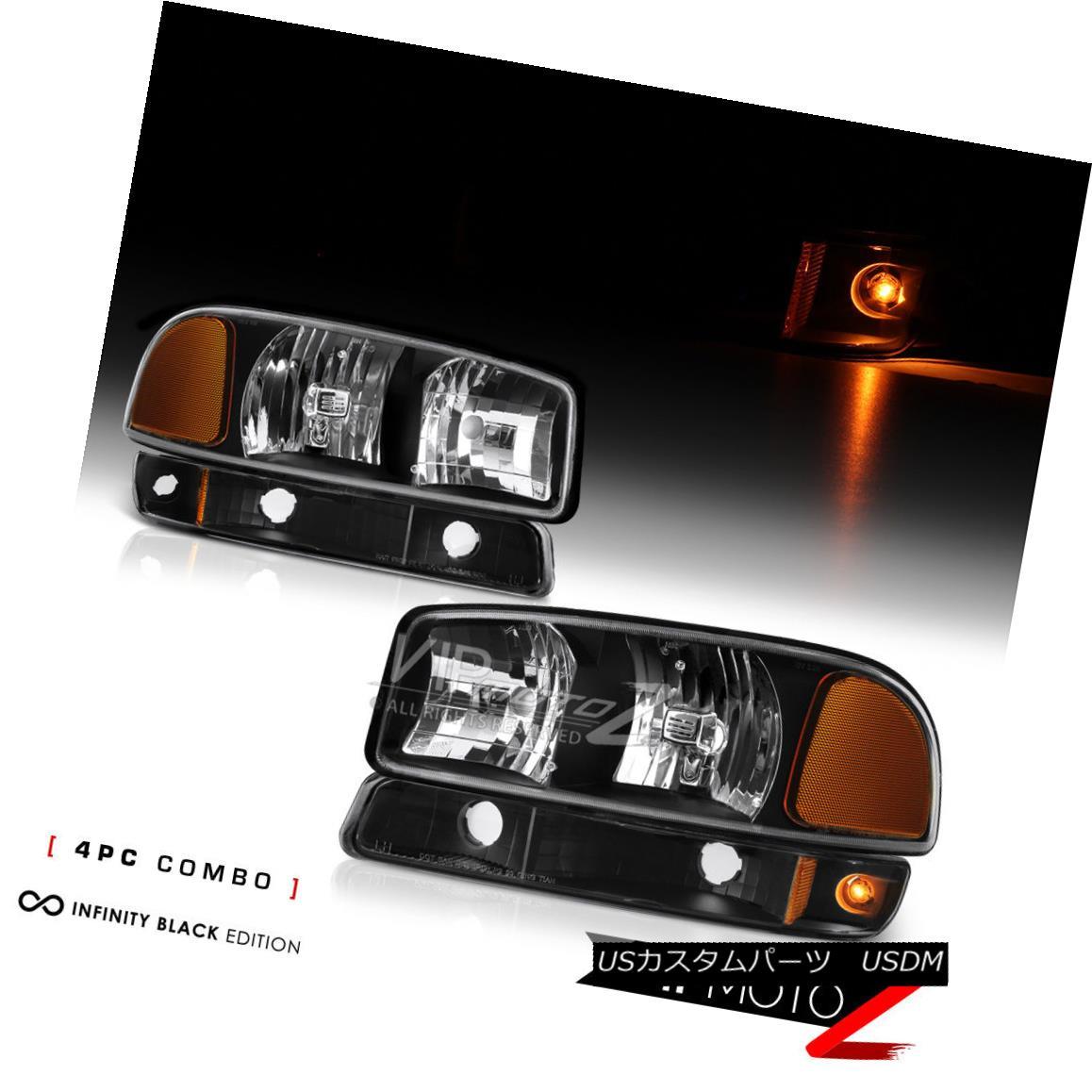 ヘッドライト 1999-2006 GMC Sierra 1500 2500 Yukon XL Black Headlights Bumper Lamp Replacement 1999-2006 GMC Sierra 1500 2500 Yukon XLブラックヘッドライトバンパーランプ交換