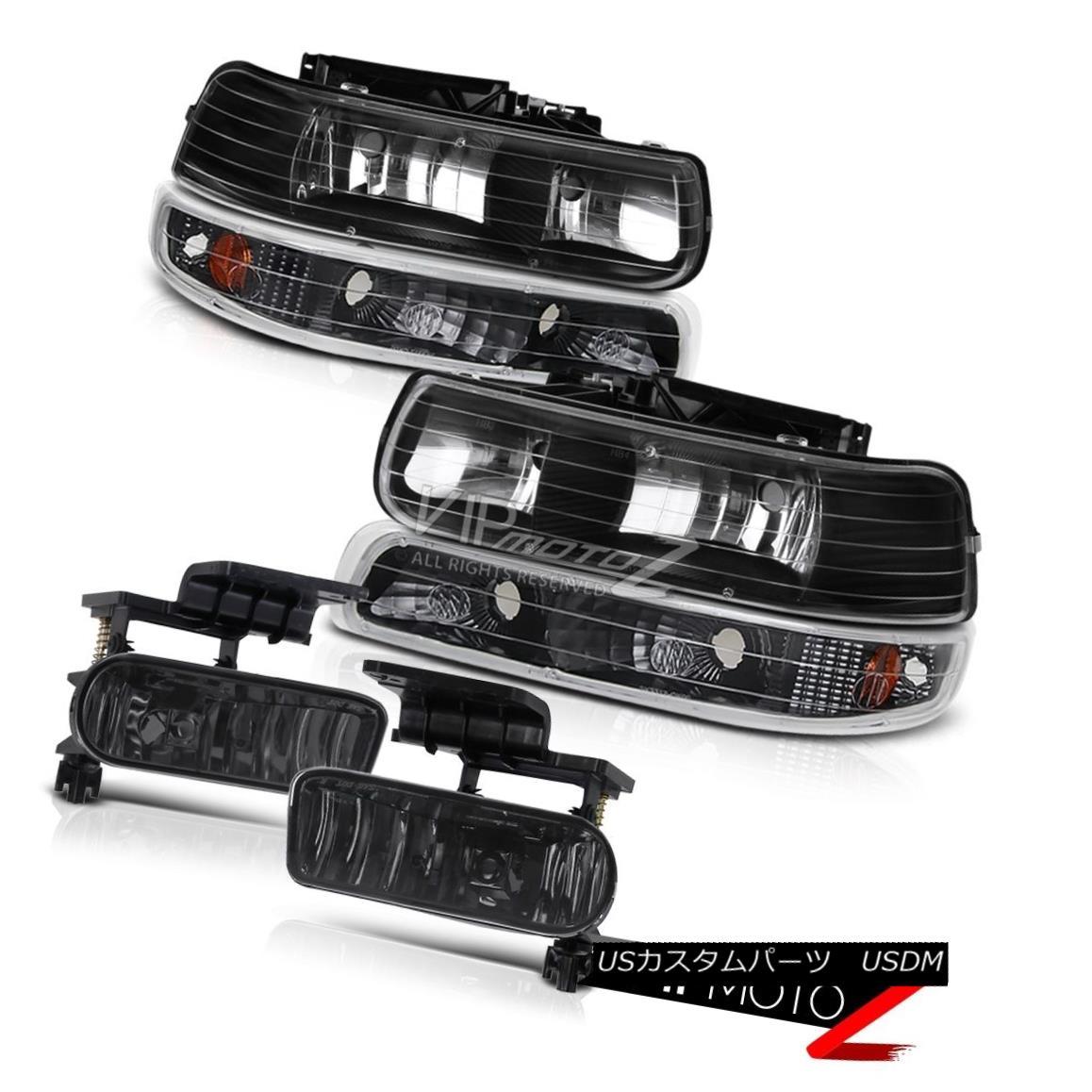 ヘッドライト SILVERADO SUBURBAN TAHOE Amber Black Front Head Light Lamp+Bumper+Fog Light 6PC SILVERADO SUBURBAN TAHOEアンバーブラックフロントヘッドライトランプ+バンパー+フォーク gライト6PC