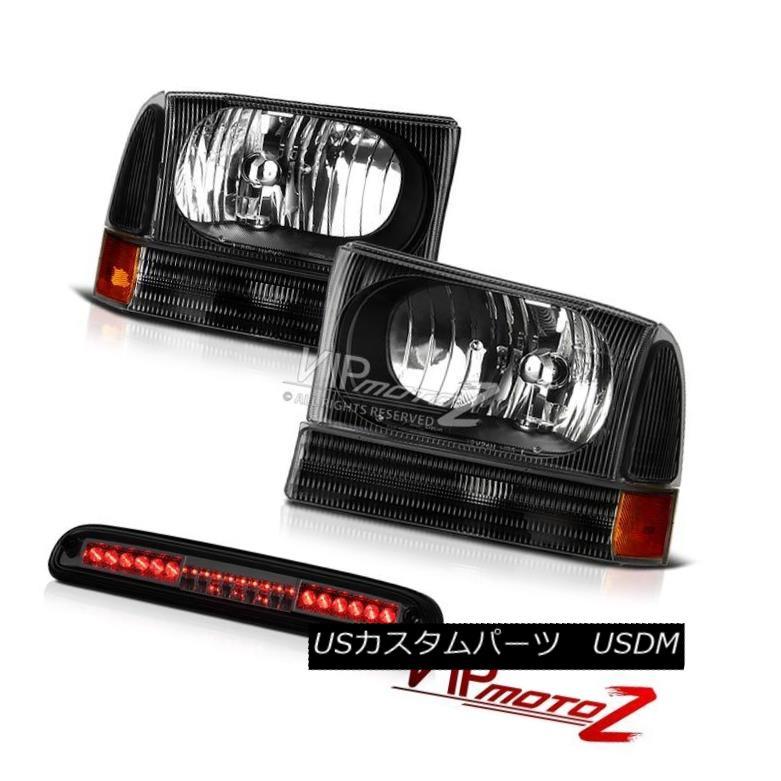 ヘッドライト 99-04 F250 Harley Davidson L+R Black Headlamps High Stop LED EVIL BLACK SMOKE 99-04 F250ハーレーダビッドソンL + RブラックヘッドランプハイストップLED EVIL BLACK SMOKE