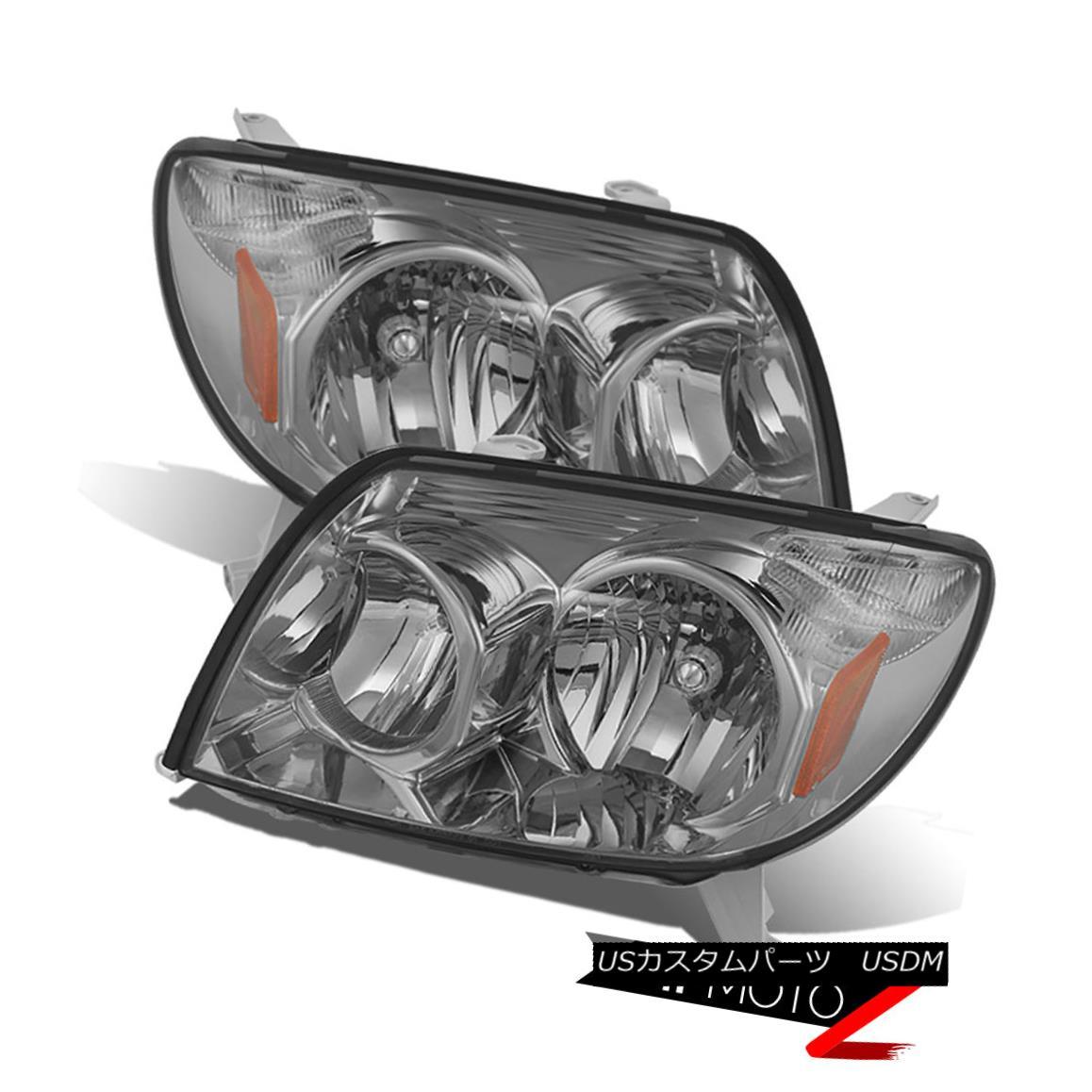 ヘッドライト 2003-2005 Toyota 4Runner 4 Runner SMOKE JDM Crystal Headlight Lamp Assembly PAIR 2003-2005トヨタ4Runner 4ランナーSMOKE JDMクリスタルヘッドライトランプアセンブリペア