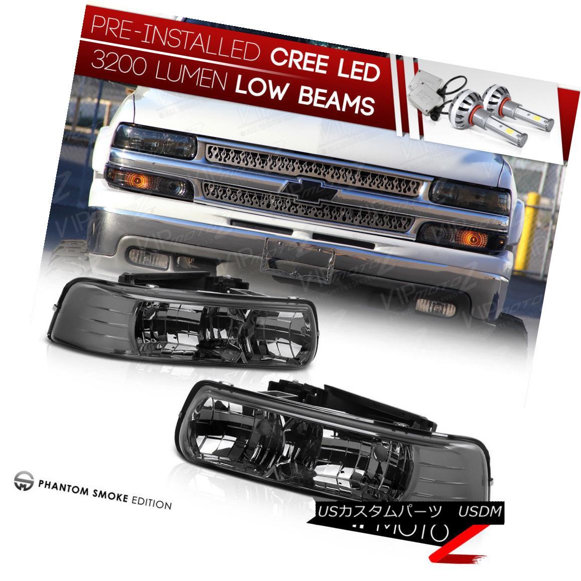 ヘッドライト !PRE-INSTALLED LED LOW BEAM! 99-02 Chevy Silverado New Titanium Headlight LH+RH !プレインストールLEDロービーム! 99-02シボレーシルバラード新チタンヘッドライトLH + RH