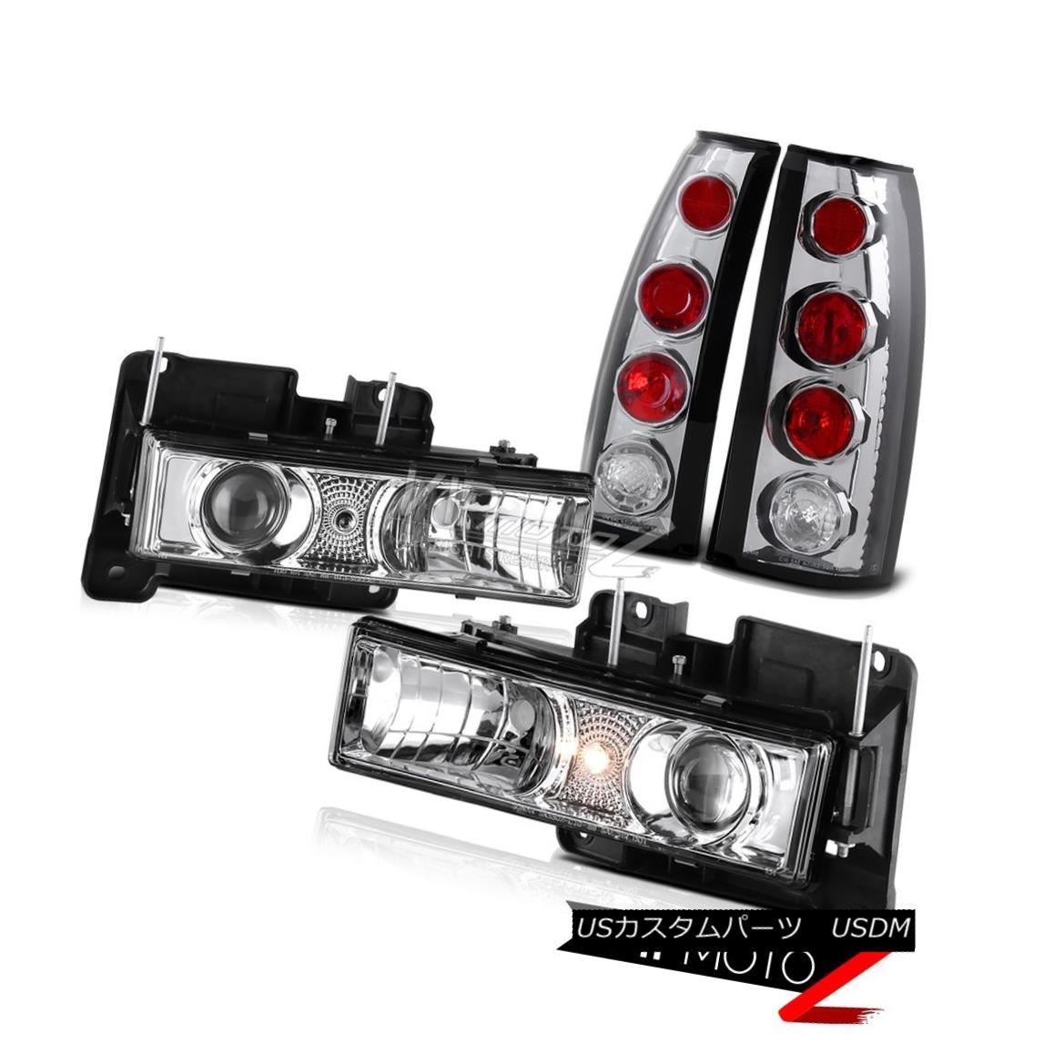 ヘッドライト Chrome Projector Headlights+Clear Red Rear Brake Tail Lights Lamp LED LEFT+RIGHT クロームプロジェクターヘッドライト+ Cle  ar赤色リアブレーキテールライトランプLED LEFT + RIGHT