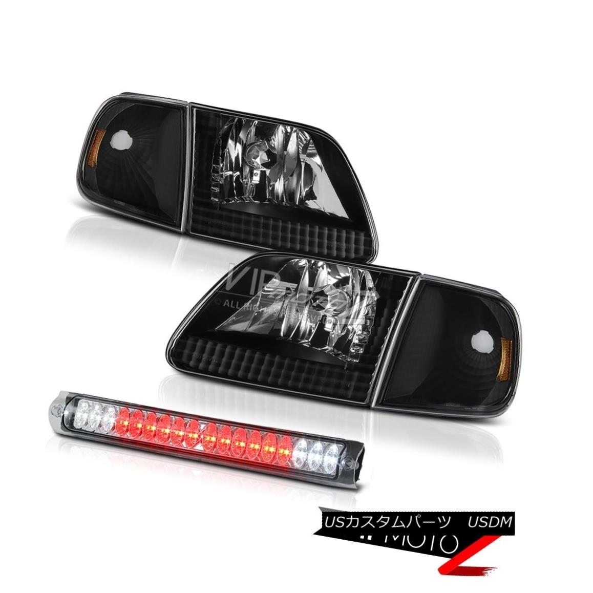 Roof Stop Matte 1997-2003 Black ヘッドライト Flareside Flareside XL Clear F150 LED F150 Ford Ford Signal Headlamp ブラックヘッドランプマットシグナルルーフストップLEDクリア1997-2003 XL