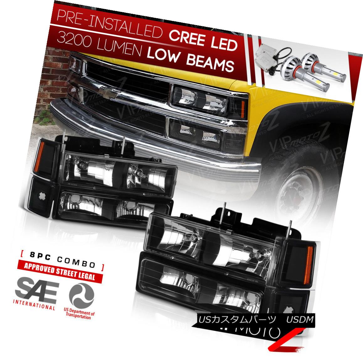 ヘッドライト !PRE-INSTALLED LED LOW BEAM! Headlight+Bumper Parking 94-98 C10/CK/Tahoe Pickup !プレインストールLEDロービーム! ヘッドライト+バンプ 駐車場94-98 C10 / CK / Tahoe Pickup
