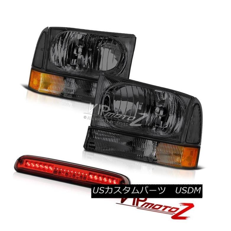 ヘッドライト 99-04 Ford F350 SuperDuty Crystal Clear Headlights Roof Third Brake LED Wine Red 99-04 Ford F350 SuperDutyクリスタルクリアヘッドライトルーフサードブレーキLEDワインレッド