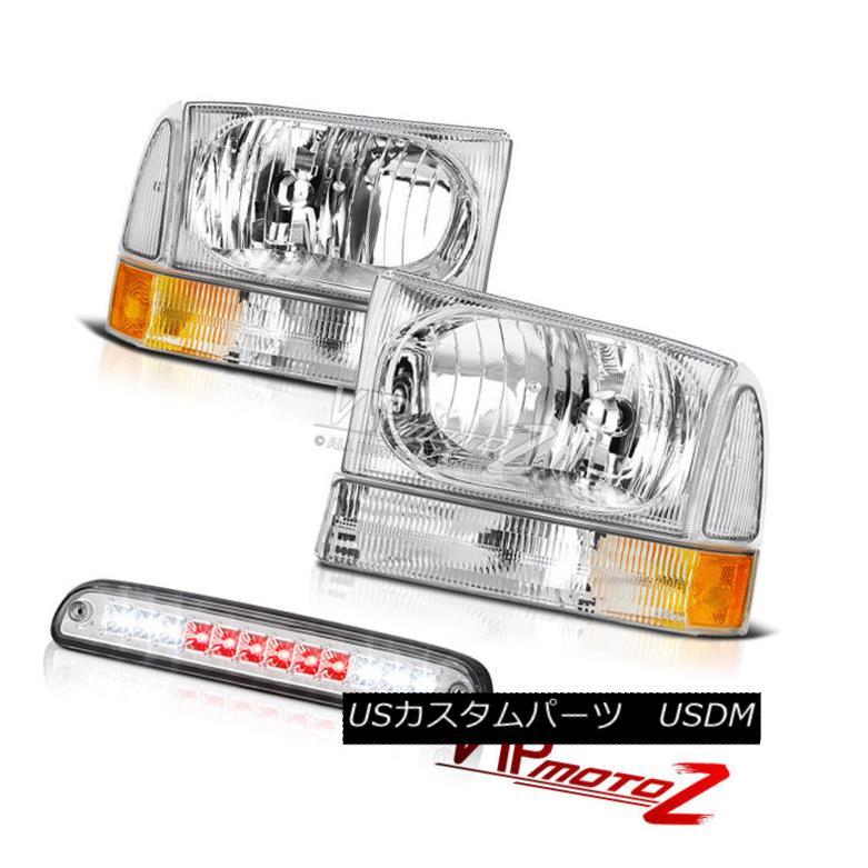 ヘッドライト 99-04 Ford F350 Pair Chrome Headlights High Stop LED Chrome Third Brake Cargo 99-04 Ford F350ペアクロームヘッドライトハイストップLEDクロームセカンドブレーキ貨物
