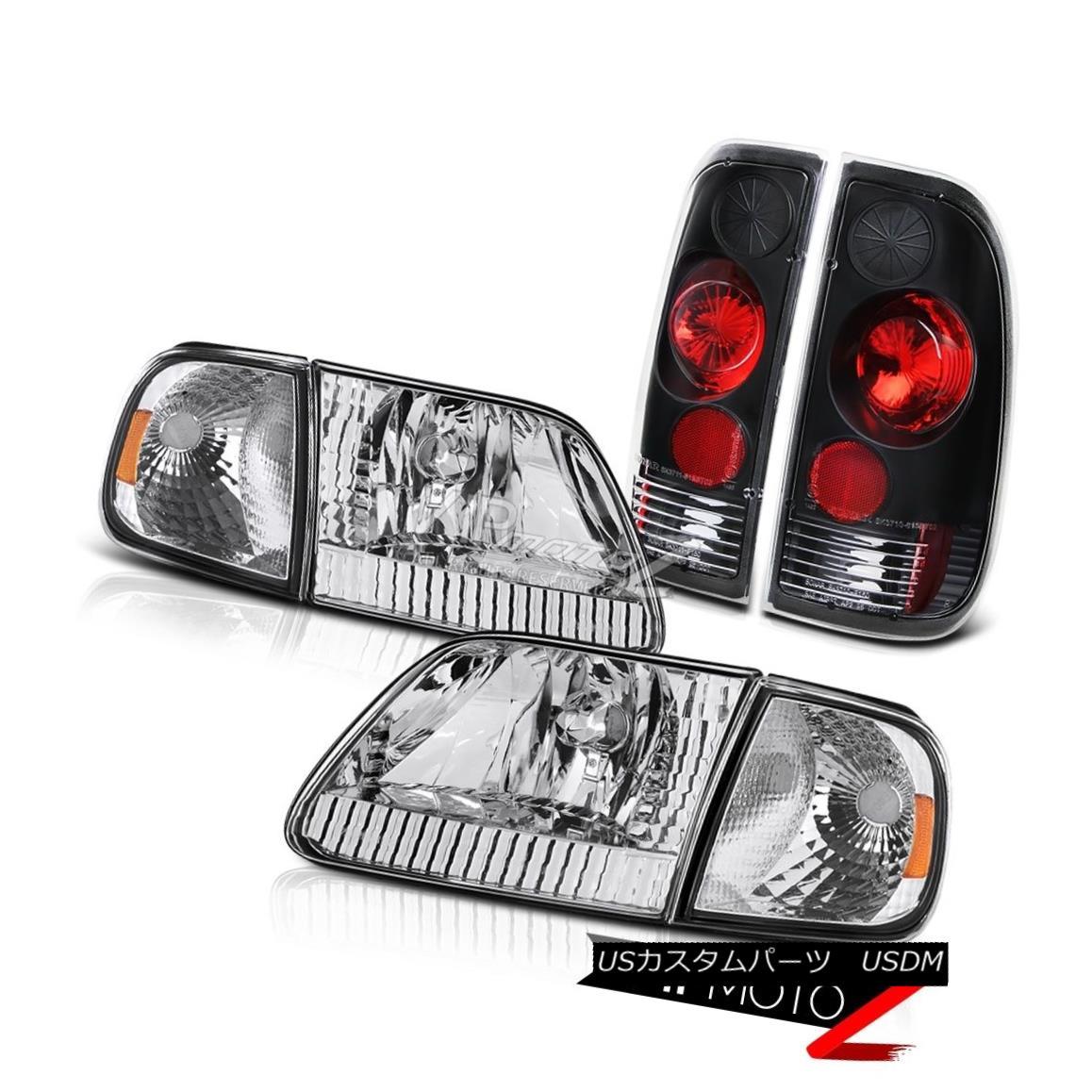 ヘッドライト 97 98 99 00 01 02 03 Ford F150 Crystal Headlights Corner Black Parking Tail Lamp 97 98 99 00 01 02 03フォードF150クリスタルヘッドライトコーナーブラックパーキングテールランプ