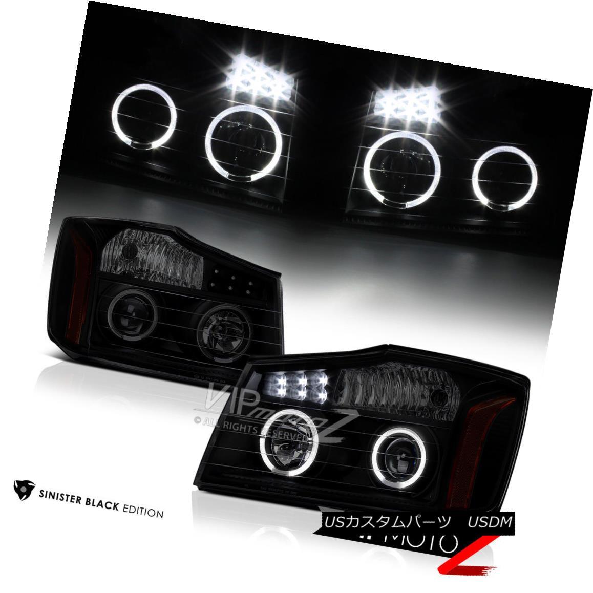 ヘッドライト For 2004-2015 Nissan Titan [SINISTER BLACK] Halo LED Projector Headlights Lamps 2004-2015 Nissan Titan [SINISTER BLACK] Halo LEDプロジェクターヘッドライトランプ