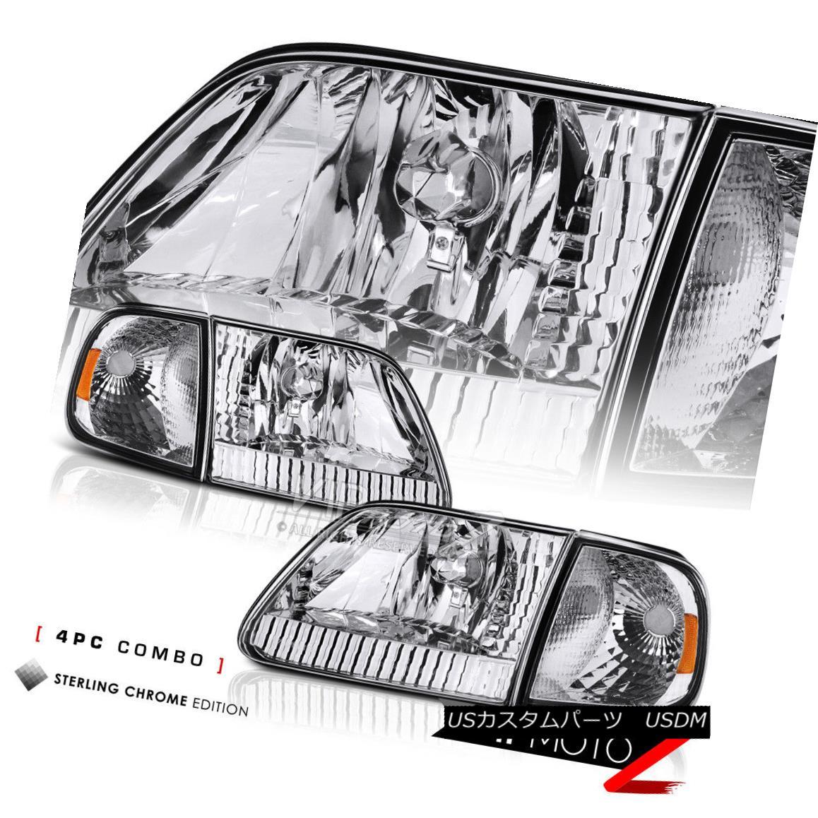 1997-2003 Ford F150 Black Corner Signal Front Head Lights Lamp PAIR 4PC COMBO