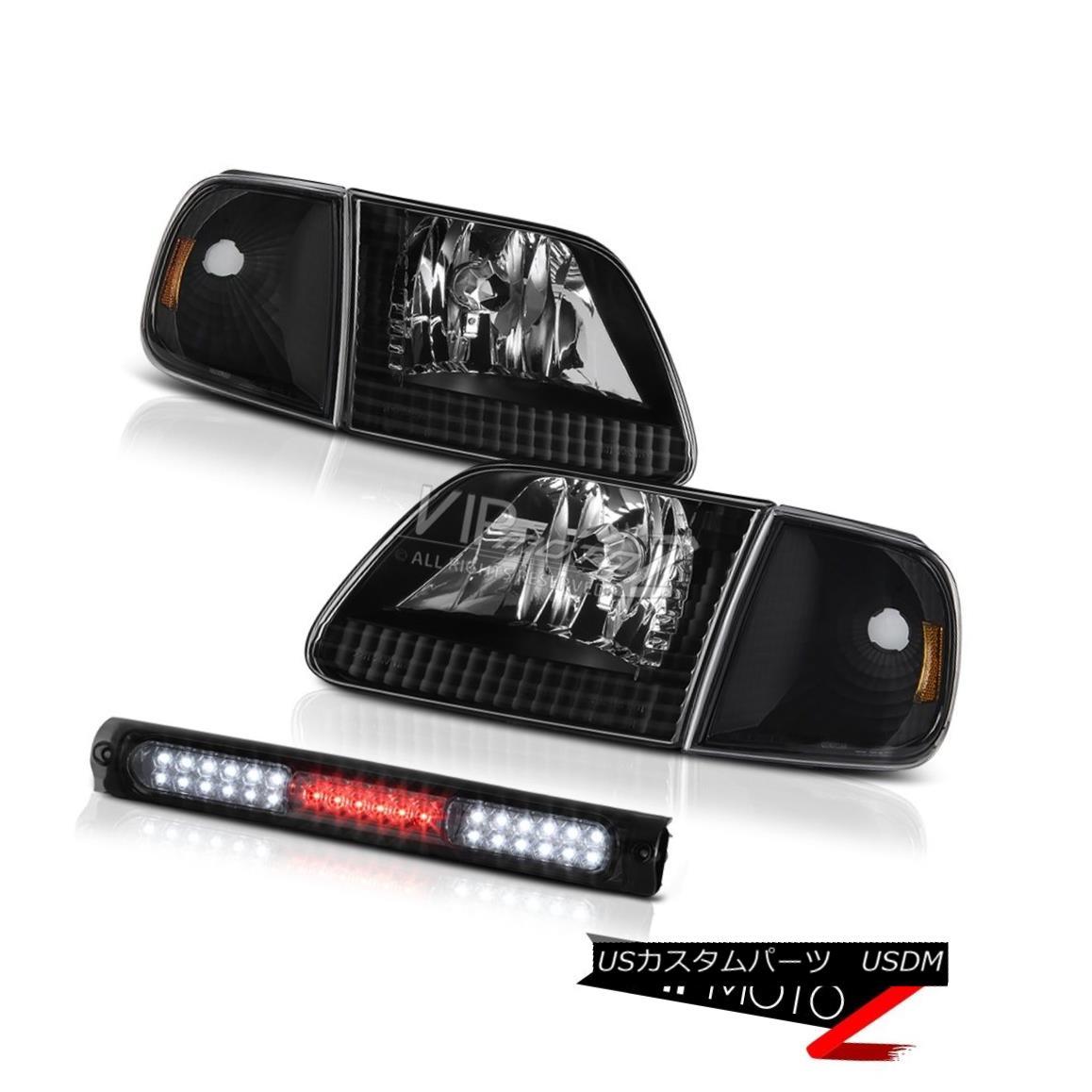 ヘッドライト Pair Black Headlights Inky Corner Smoke 3rd Brake LED 97-03 F150 Flareside 5.4L ペアブラックヘッドライトインキコーナー煙第3ブレーキLED 97-03 F150フラレージド5.4L
