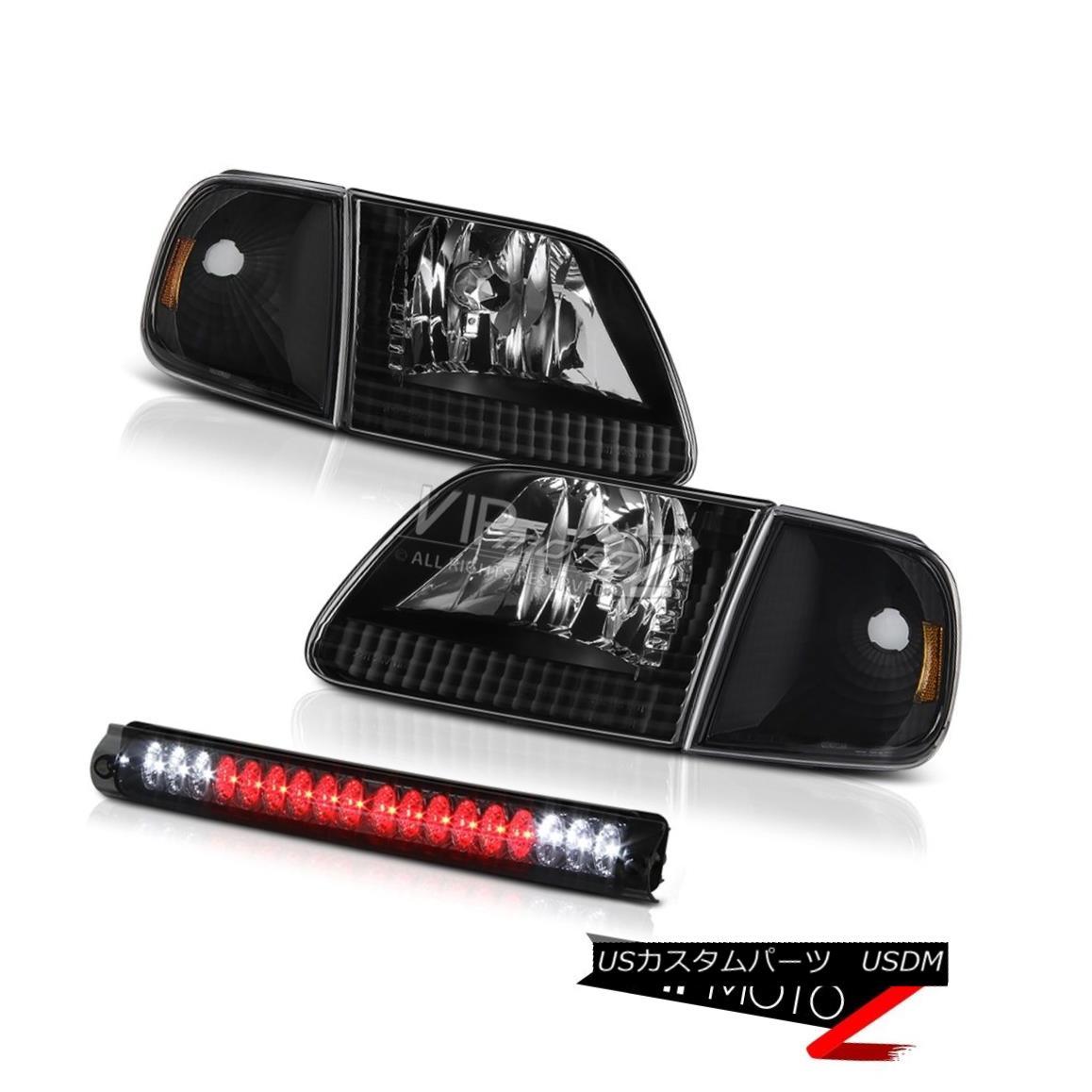 ヘッドライト 97-03 F150 XL Left Right Headlamp Matte Black Parking Signal High Stop LED Smoke 97-03 F150 XL左ライトヘッドランプマットブラックパーキング信号ハイストップLEDスモーク
