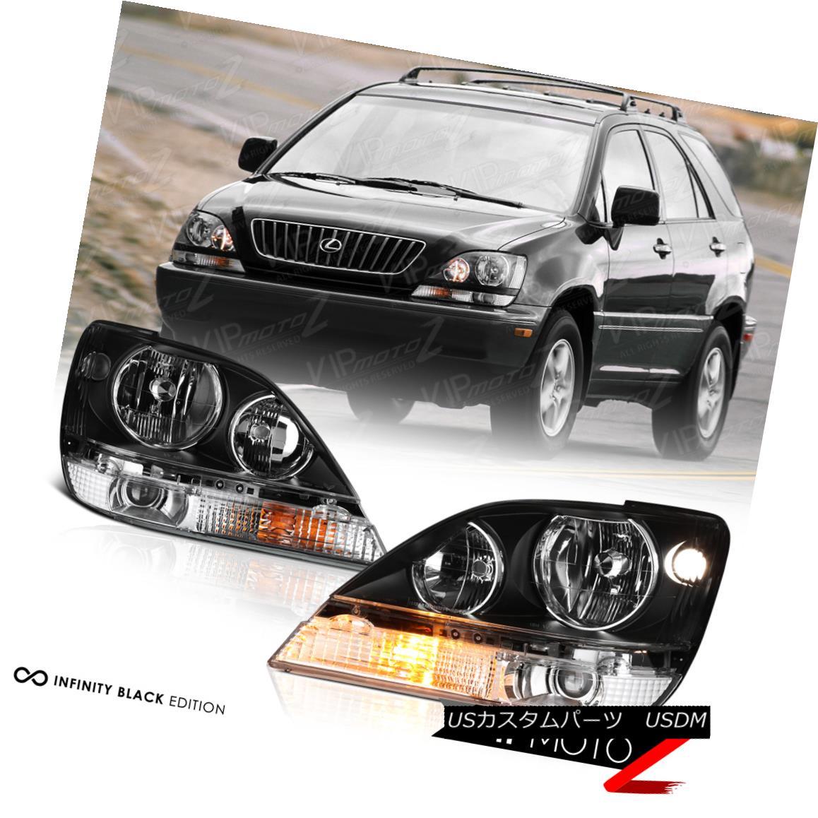 ヘッドライト 1999-2003 Lexus RX300 FWD AWD Black JDM Style Front Headlights Headlamp Assembly 1999-2003レクサスRX300 FWD AWDブラックJDMスタイルフロントヘッドライトヘッドランプアセンブリ