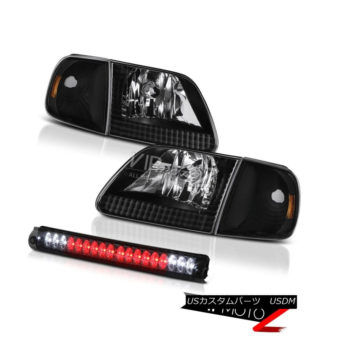 ヘッドライト Black Corner Headlights Tinted 3rd Brake LED 1997-2003 Ford F150 Flareside 5.4L 黒いコーナーヘッドライトは、第3ブレーキLEDを着色しました。1997-2003 Ford F150 Flareside 5.4L