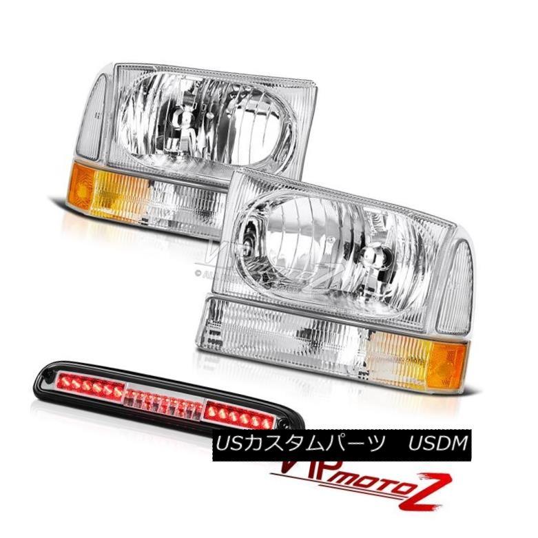 ヘッドライト 99 00 01 02 0304 F350 7.3L Pair Chrome Headlamps Euro Third Brake LED Stop Roof 99 00 01 02 0304 F350 7.3LペアクロームヘッドランプユーロサードブレーキLEDストップルーフ