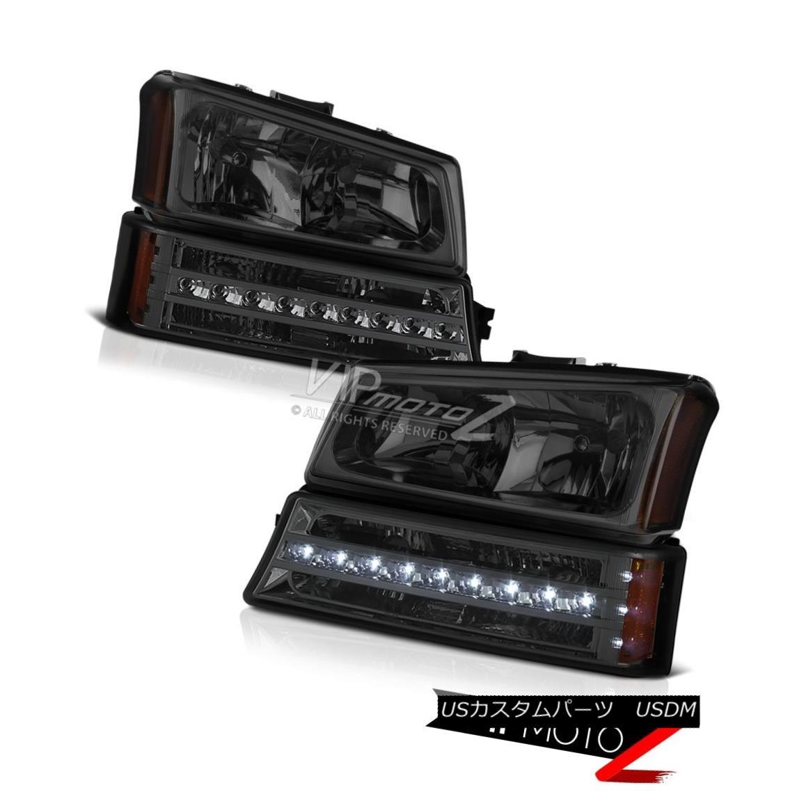 ヘッドライト [PLUG&PLAY] 2003-2006 Chevy Silverado 1500 2500 3500 HD Smoke Bumper Head Lights [PLUG& PLAY] 2003-2006 Chevy Silverado 1500 2500 3500 HDスモークバンパーヘッドライト