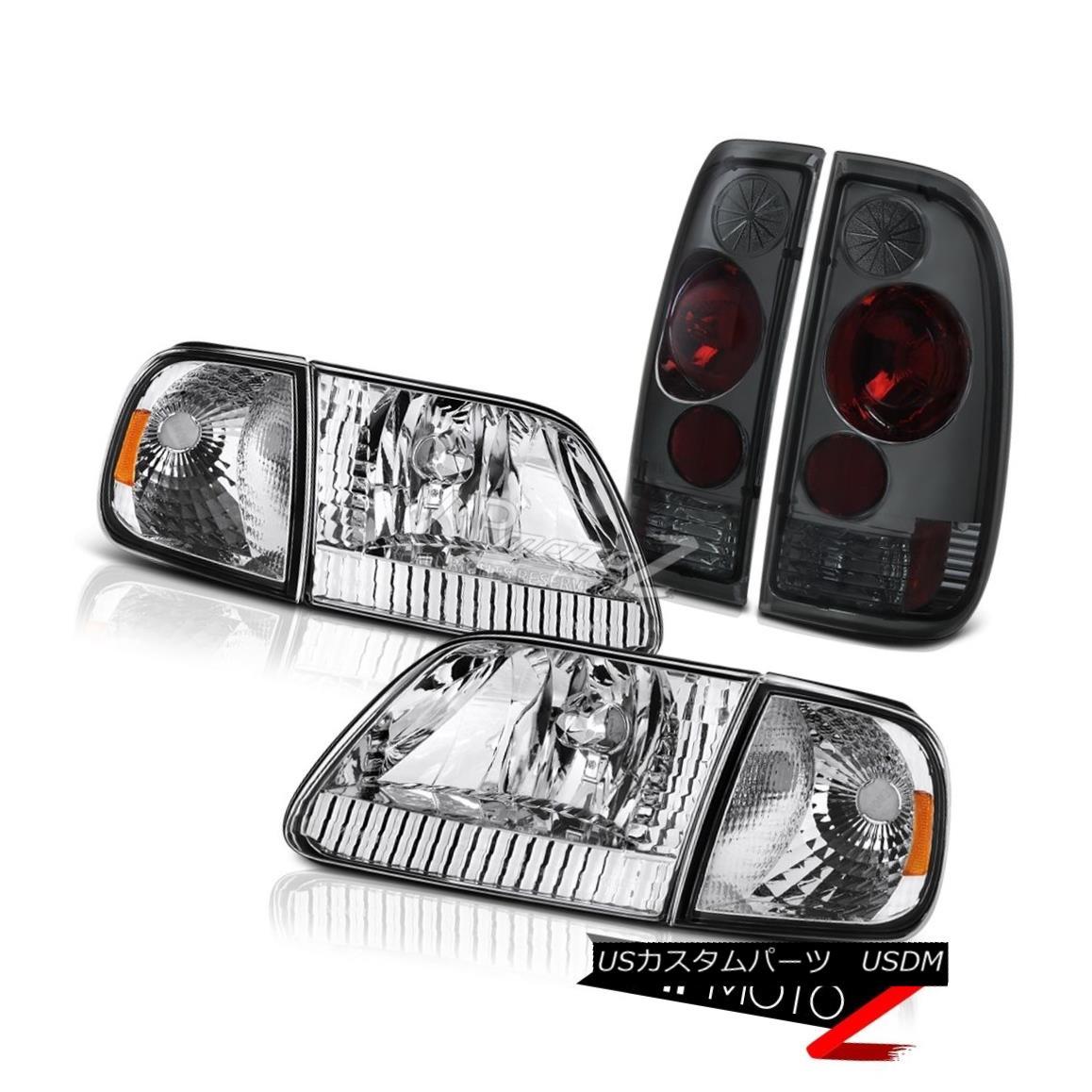 ヘッドライト 1997-2003 Ford F150 XL Euro Corner+Headlamps Smoke Tinted Rear Tail Brake Lamps 1997-2003フォードF150 XLユーロコーナー+ヘッドラム psスモークティアリングリアテールブレーキランプ