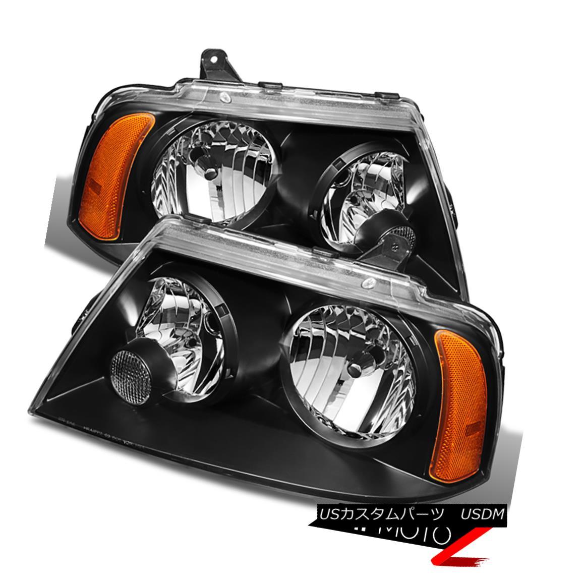 ヘッドライト 2003-2006 Lincoln Navigator Base Ultimate Black Front Headlights Assembly Pair 2003-2006リンカーンナビゲーターベース究極のブラックフロントヘッドライト組立ペア