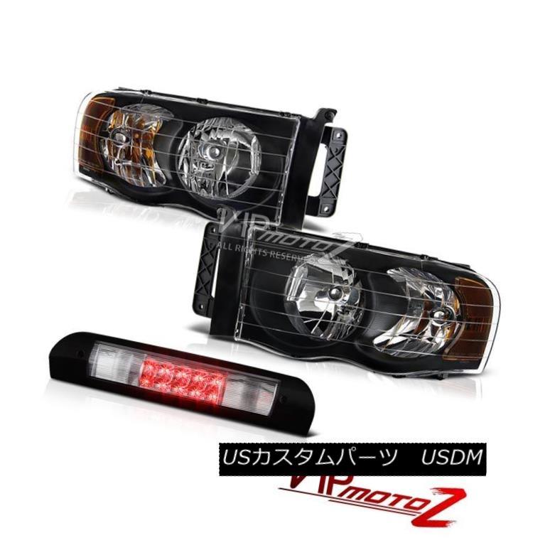 ヘッドライト Pair Black Headlights Chrome 3rd Brake LED Lights Lamps 02 03 04 05 Ram 2500 ペアブラックヘッドライトクローム第3ブレーキLEDランプ02 03 04 05 Ram 2500