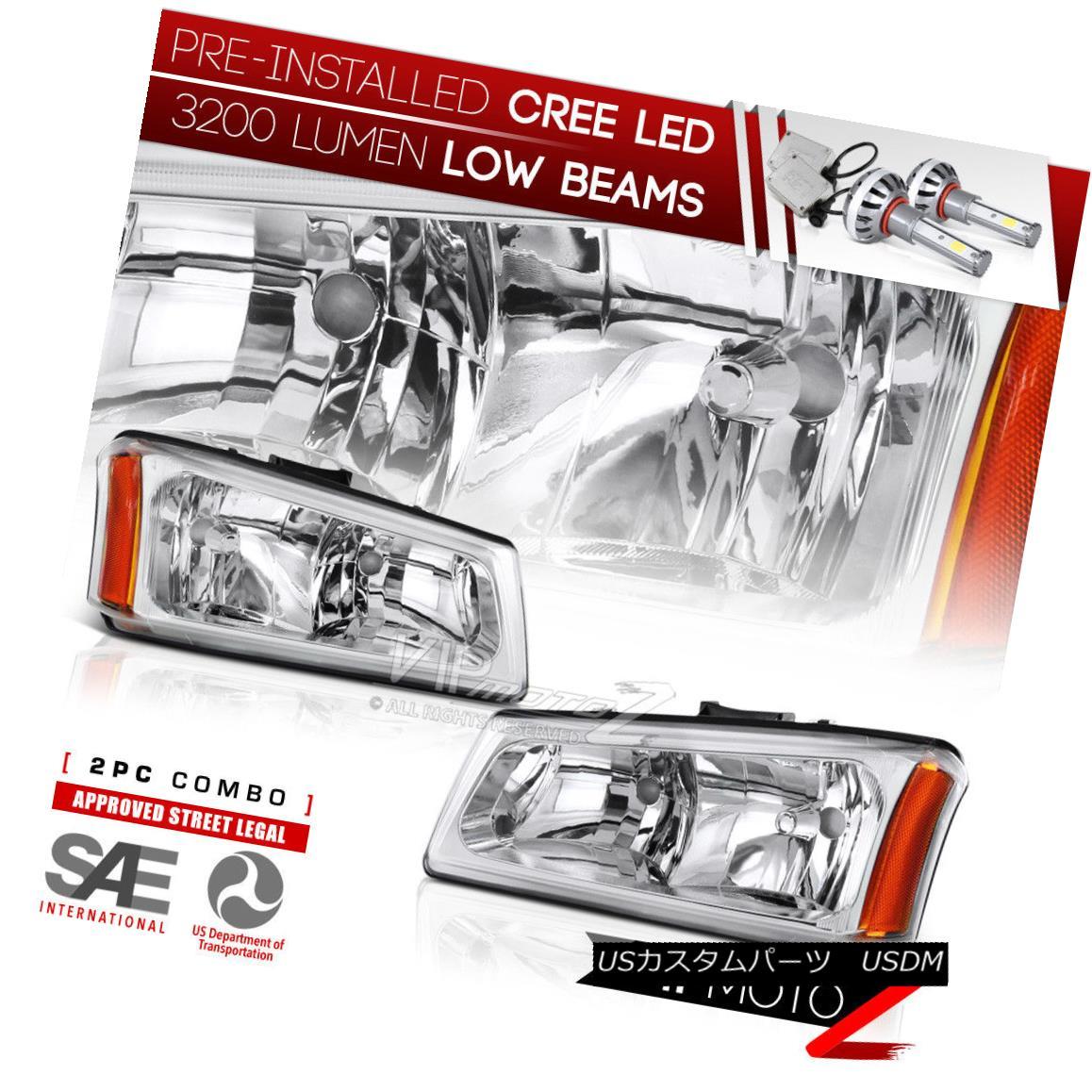 ヘッドライト {BUILT-IN LED LOW BEAM} 03-06 Chevy Silverado SS Truck Clear Headlights W/ Amber {LEDインジケーター} 03-06シボレーシルバラードSSトラッククリアヘッドライトW /アンバー