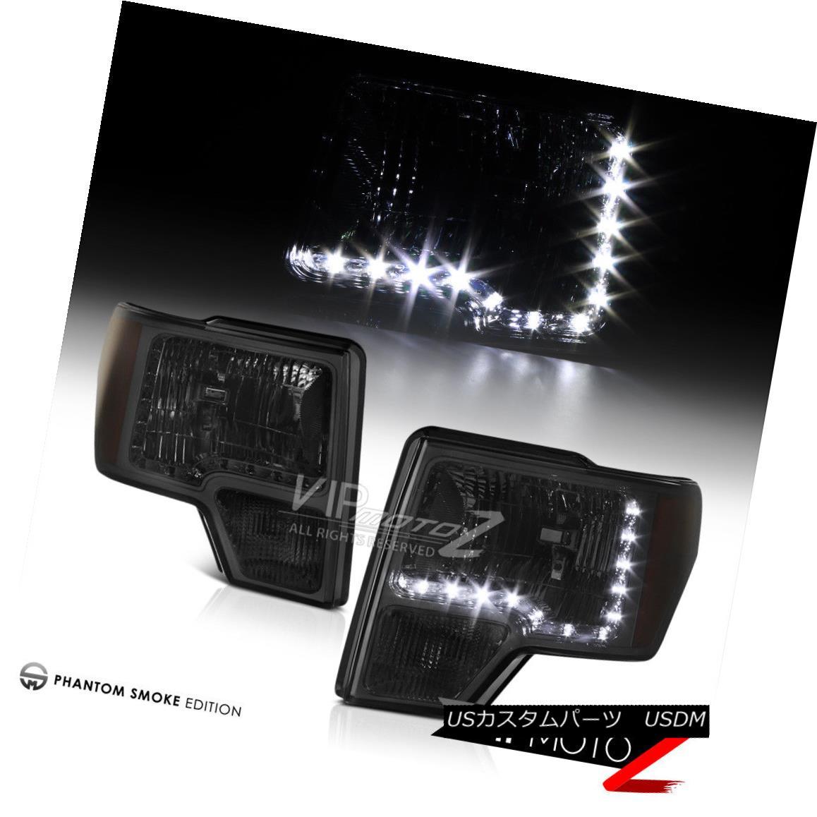 ヘッドライト Ford F150 2009-2014 L+R Smoke LED Diamond Cut Headlight Signal Bumper Lamp Ford F150 2009-2014 L + R Smoke LEDダイヤモンドカットヘッドライト信号バンパーランプ