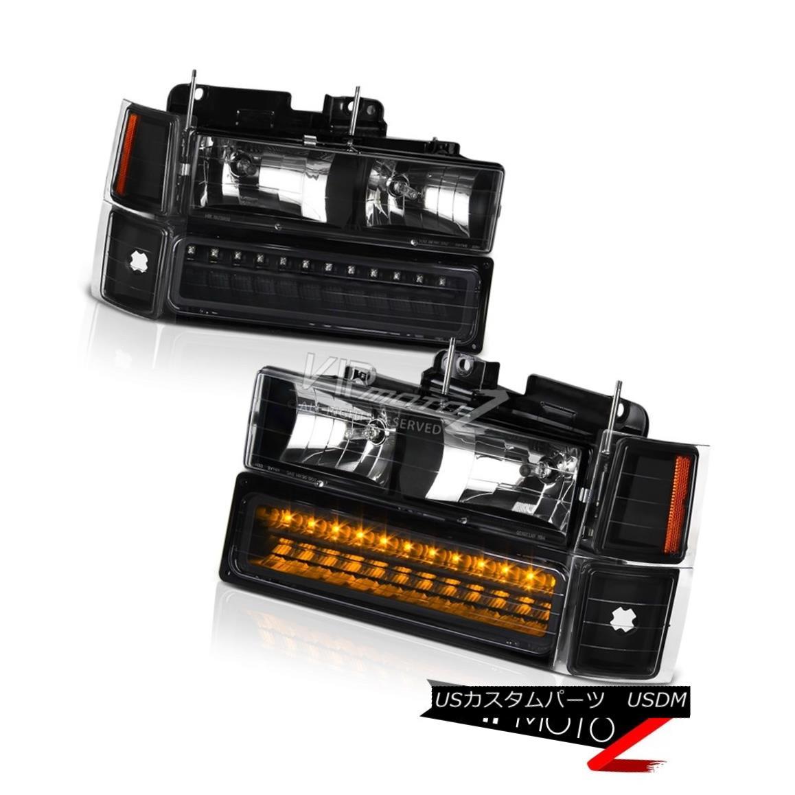 ヘッドライト 1994-2000 C2500 C3500 K2500 K3500 Amber LED Parking Signal Headlights Headlamps 1994-2000 C2500 C3500 K2500 K3500琥珀LEDパーキング信号ヘッドライトヘッドランプ