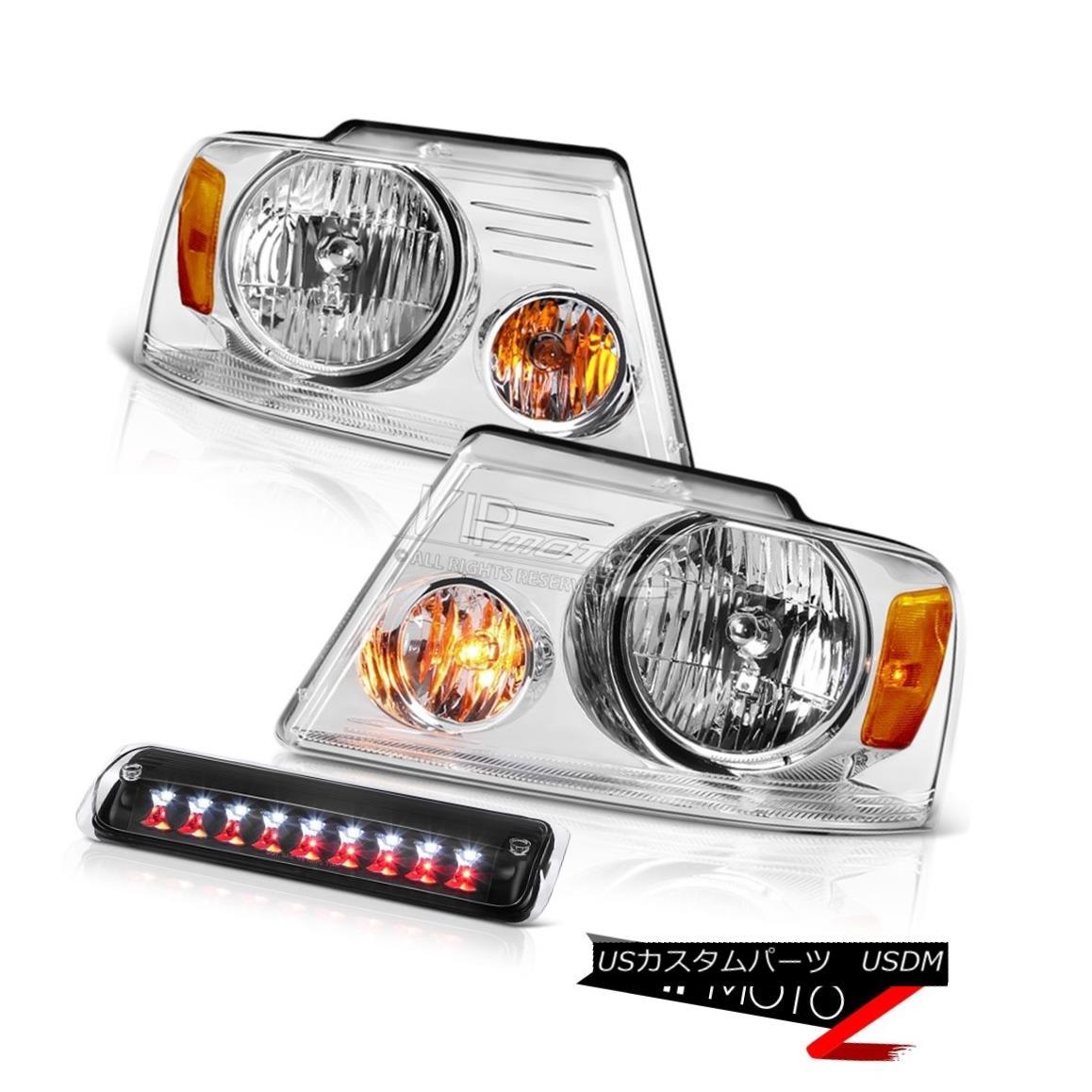 ヘッドライト 04-08 Ford F150 XL Clear Chrome Headlights Black 3RD Brake Lamp Factory Style 04-08フォードF150 XLクリアクロームヘッドライトブラック3RDブレーキランプ工場スタイル