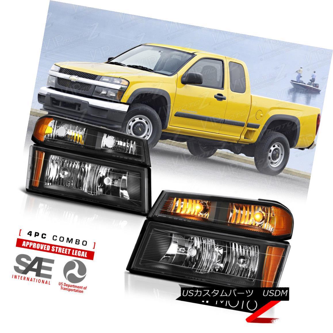 ヘッドライト 2004-2012 Chevy Colorado GMC Canyon [HARLEY BLACK] Bumper Corner Head Light Lamp 2004年?2012年シボレーコロラド州GMCキャニオン[ハーレーブラック]バンパーコーナーヘッドライトランプ