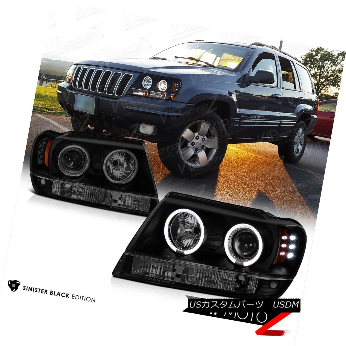 ヘッドライト [LIMITED SINISTER BLACK] 1999-2004 Jeep Grand Cherokee WJ WG Halo LED Headlights [LIMITED SINISTER BLACK] 1999-2004ジープ・グランド・チェロキーWJ WG Halo LEDヘッドライト