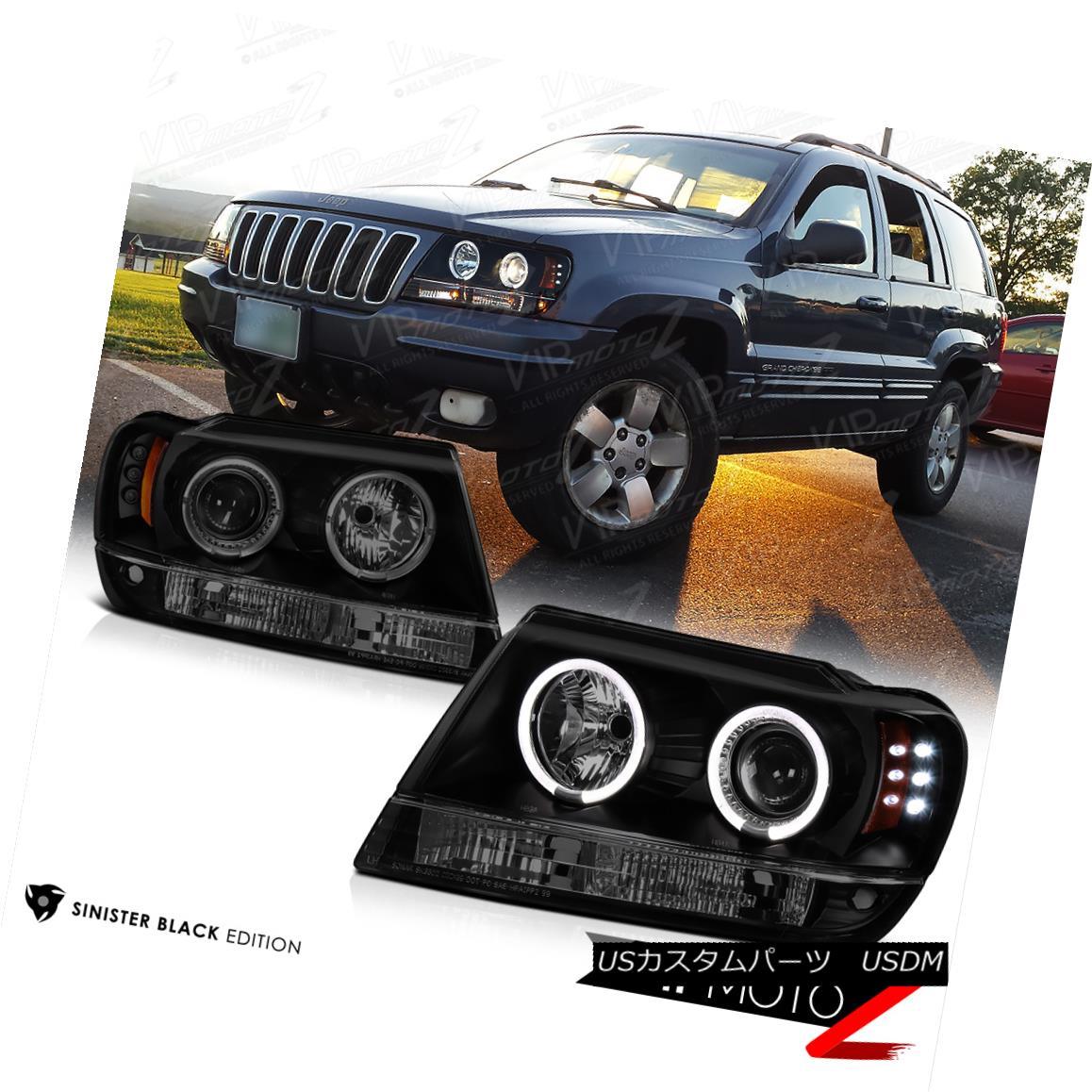 ヘッドライト [LIMITED SINISTER BLACK] 1999-2004 Jeep Grand Cherokee WJ WG Halo LED Headlights [LIMITED SINISTER BLACK] 1999-2004ジープ・グランド・チェロキーWJ WG Halo LEDヘッドライト