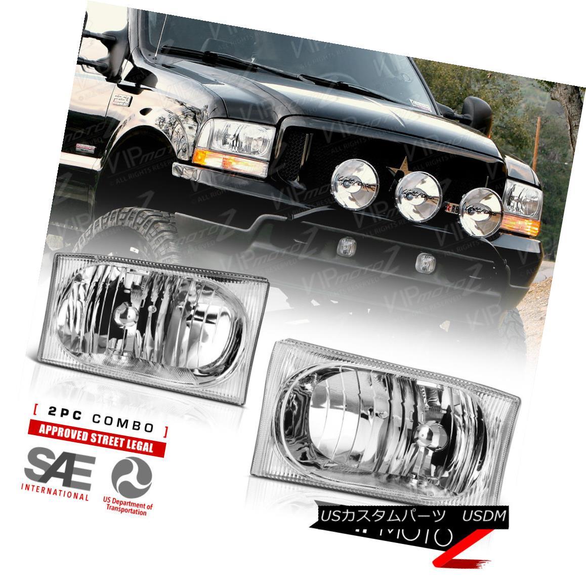ヘッドライト 1999-2004 Ford F250 F350 F450 SuperDuty SD Chrome Headlights Lamps LEFT RIGHT 1999-2004 Ford F250 F350 F450 SuperDuty SDクロームヘッドライトランプLEFT RIGHT